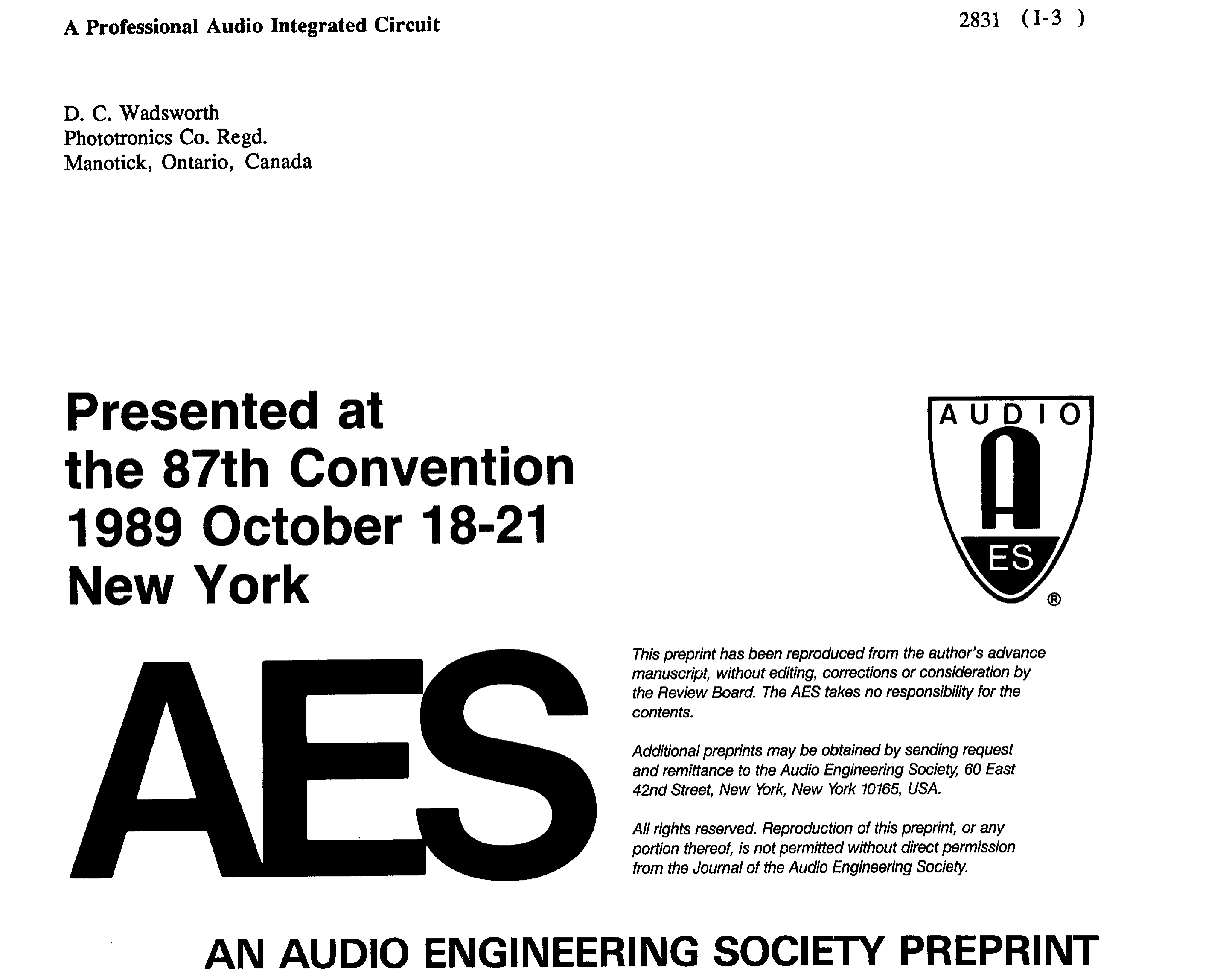 AES E-Library » A Professional Audio Integrated Circuit