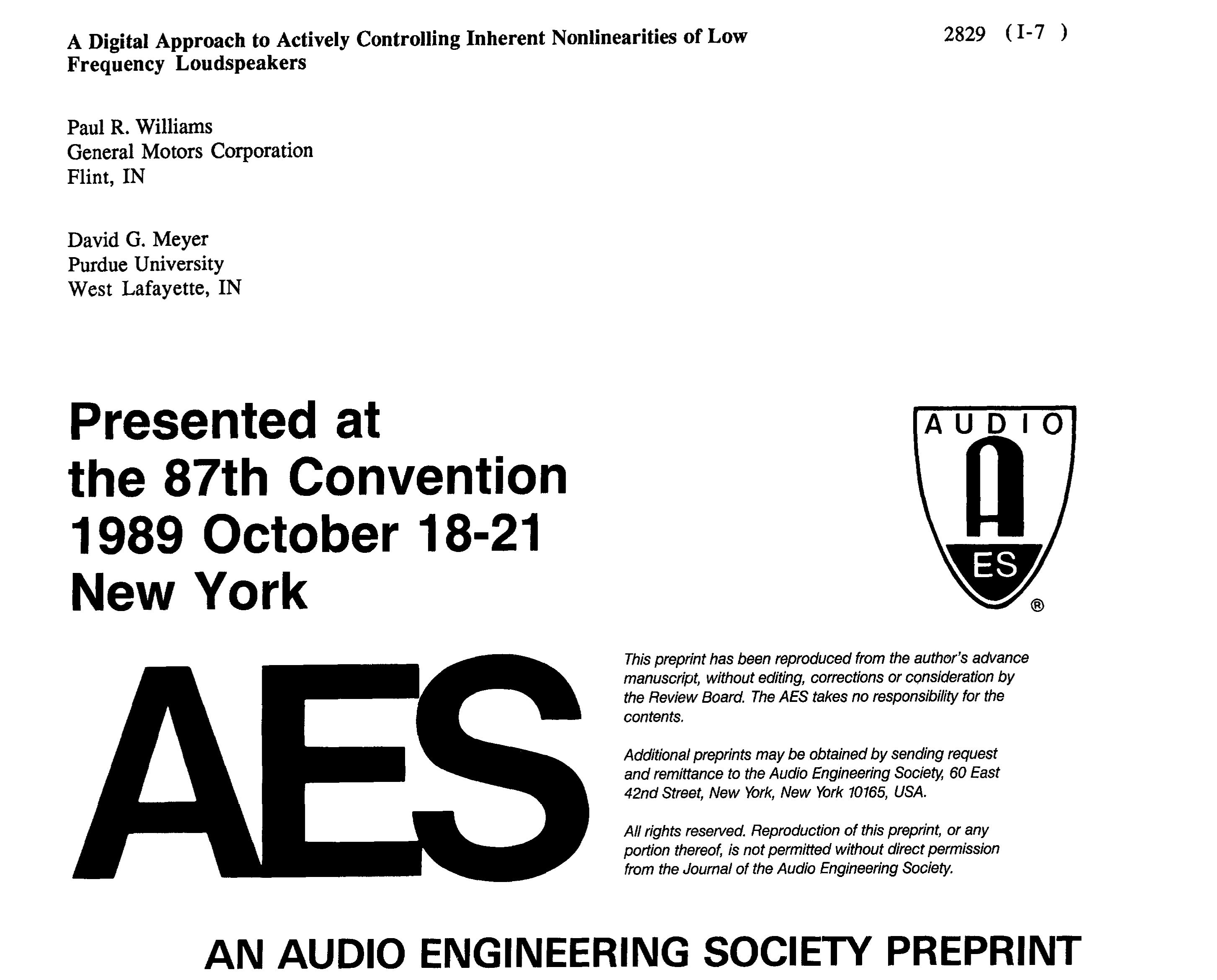 AES E Library A Digital Approach to Actively Controlling Inherent