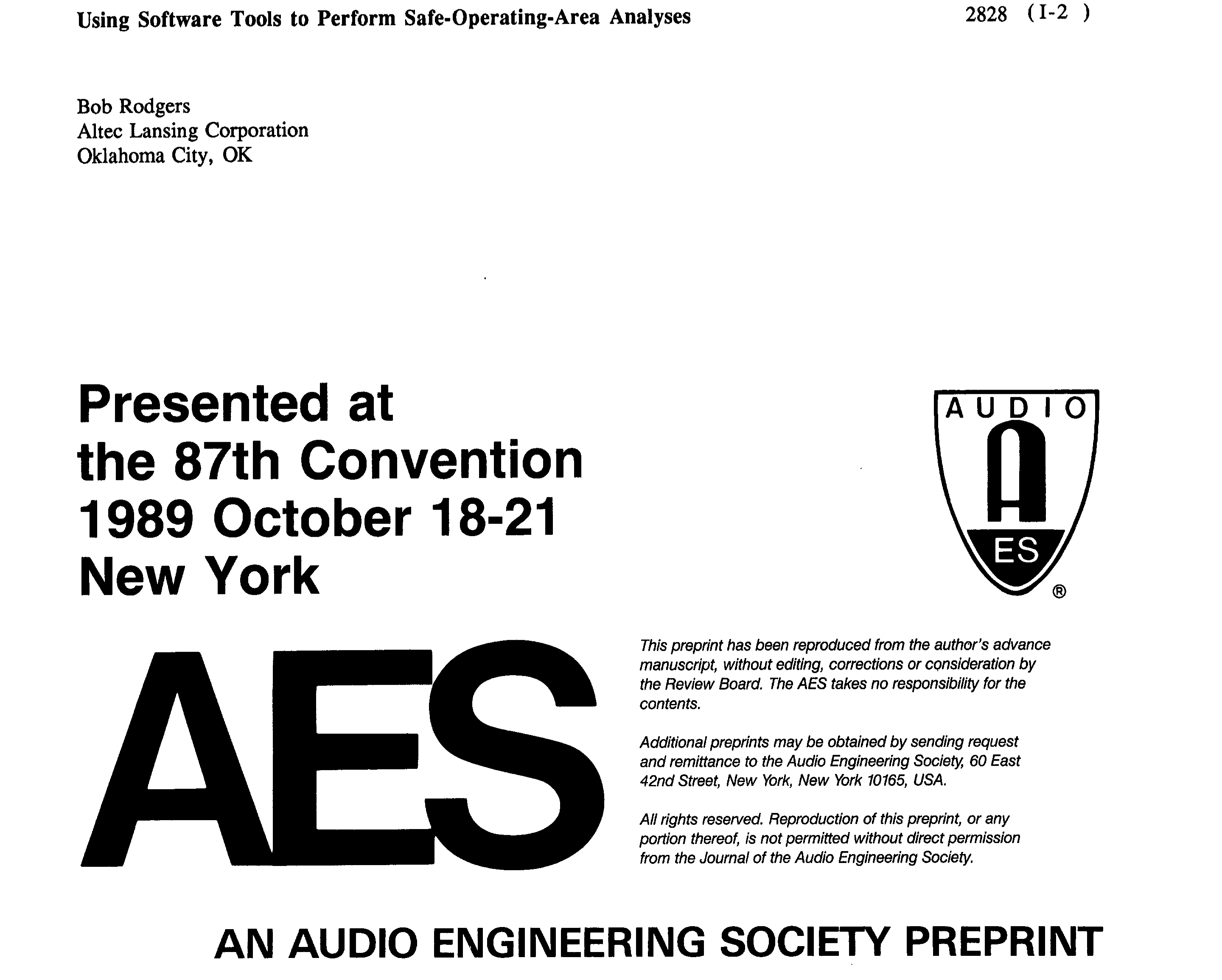 AES E-Library » Using Software Tools to Perform Safe-Operating-Area