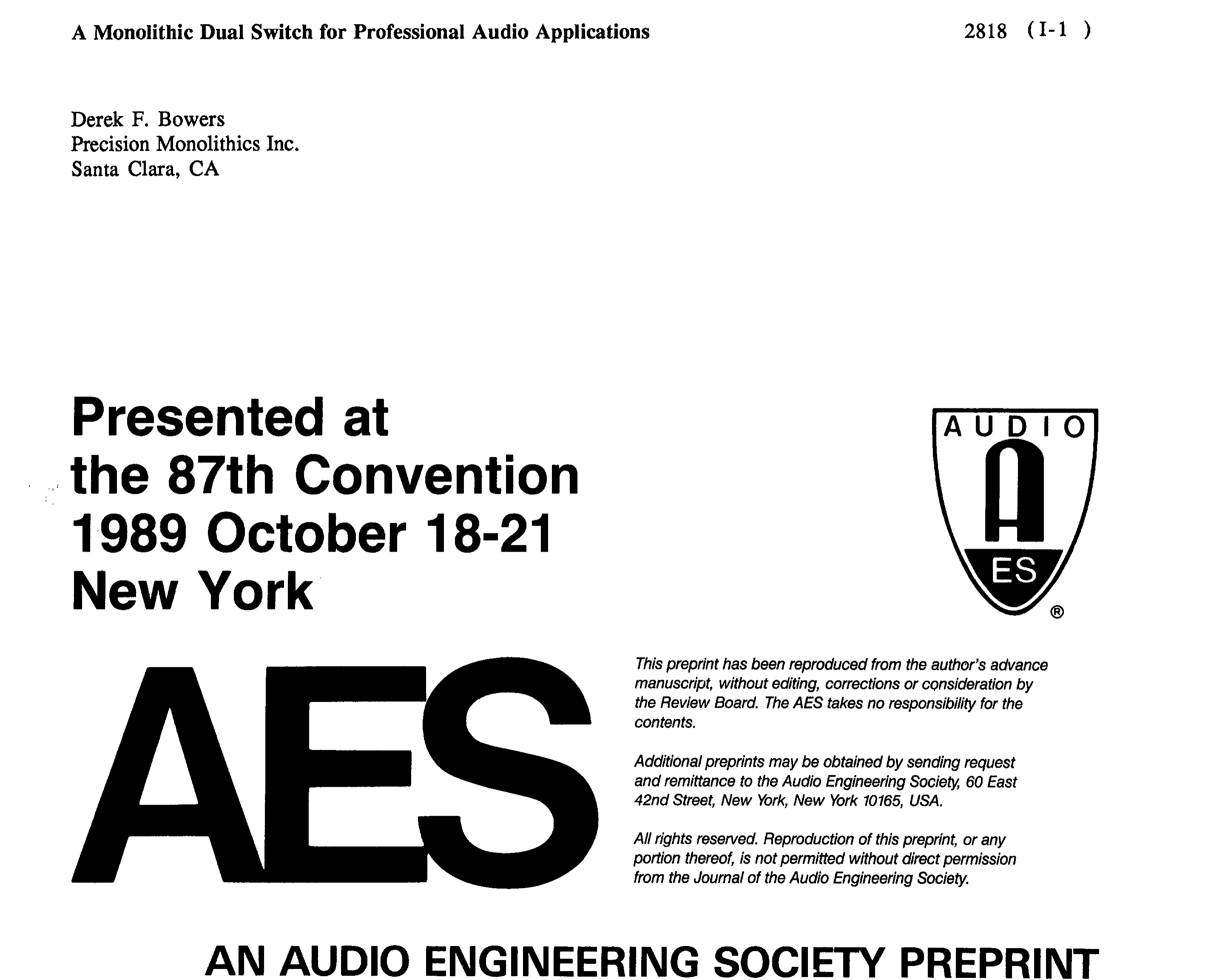 Aes E Library A Monolothic Dual Switch For Professional Audio Fet As Working Of Mosfet Or Jfet Applications