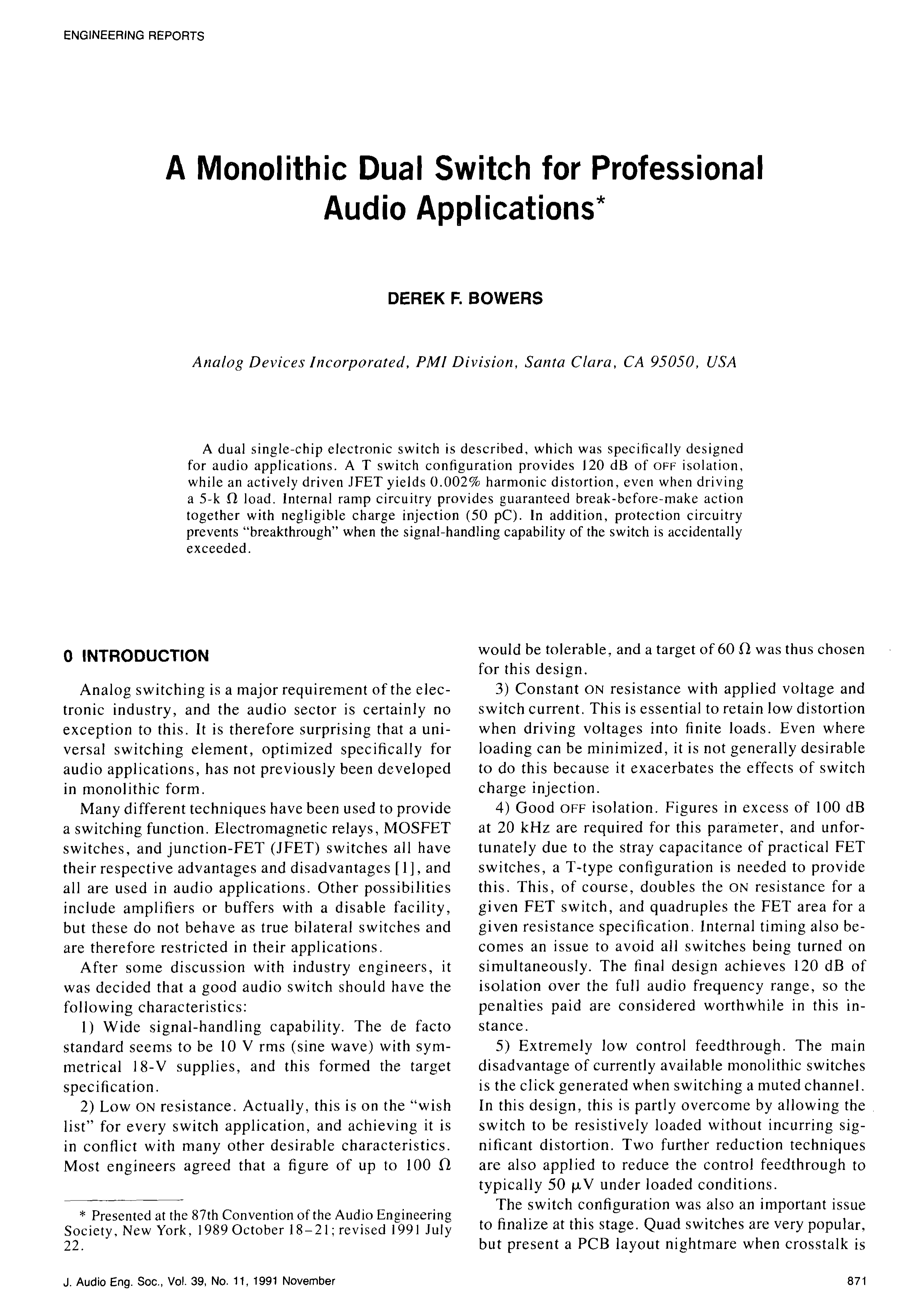 Aes E Library A Monolithic Dual Switch For Professional Audio Silicon Bilateral Applications