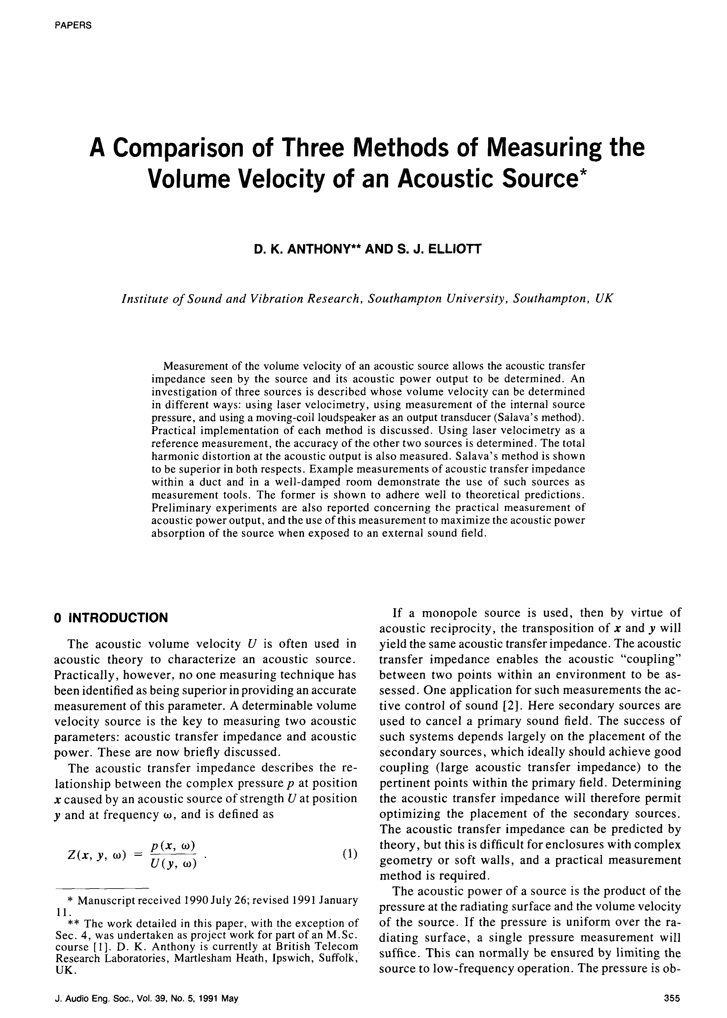 Aes E Library A Comparison Of Three Methods Measuring The Ccvs Current Controlled Voltage Source In Practice Electrical Volume Velocity An Acoustic
