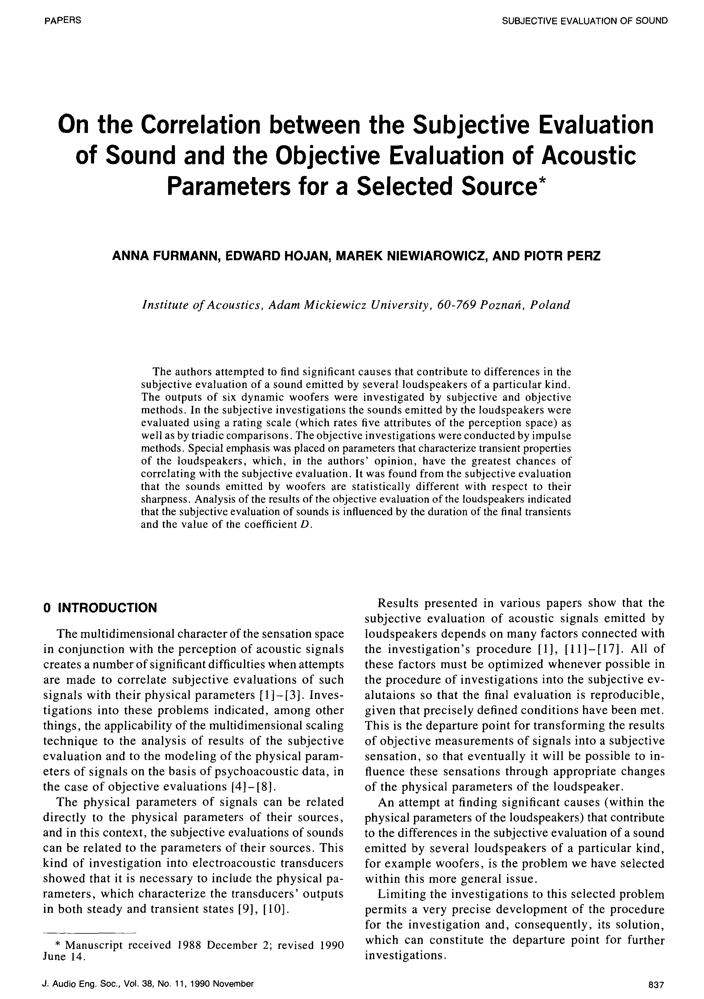 Aes E Library On The Correlation Between The Subjective Evaluation