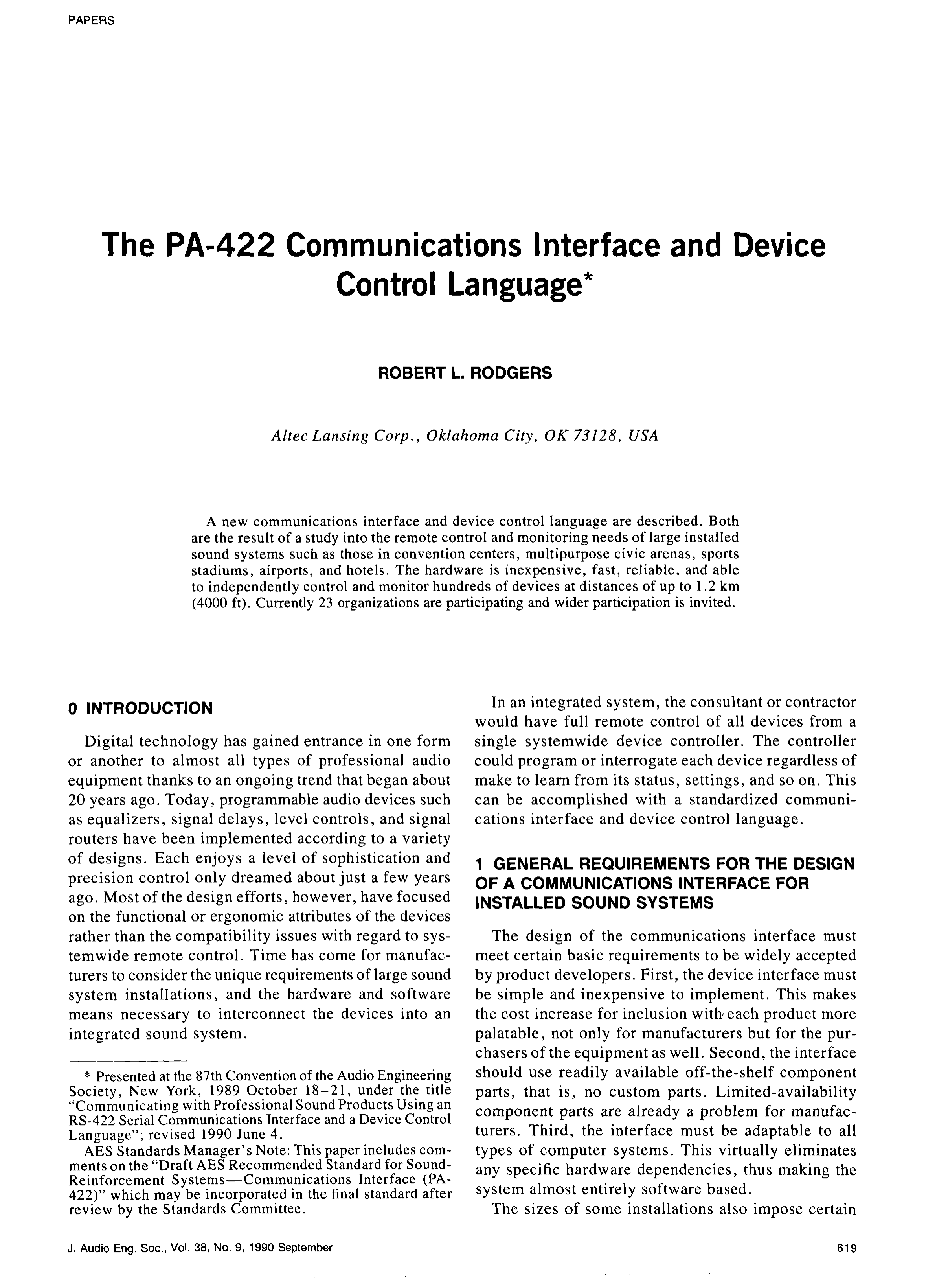 Aes E Library The Pa 422 Communications Interface And Device Optoisolator For Volume Control Language