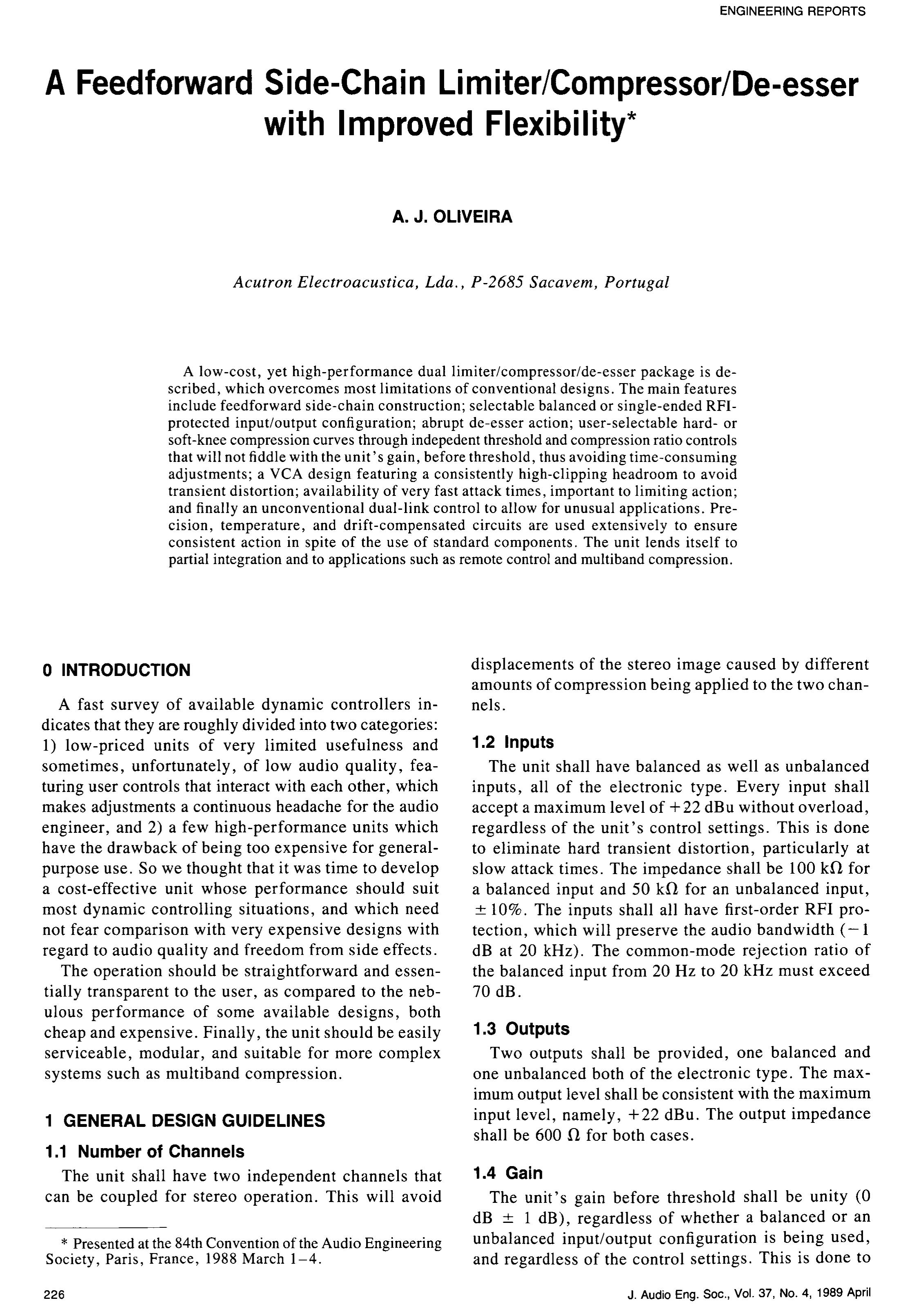 AES E-Library » A Feedforward Side-Chain Limiter/Compressor/De-esser ...