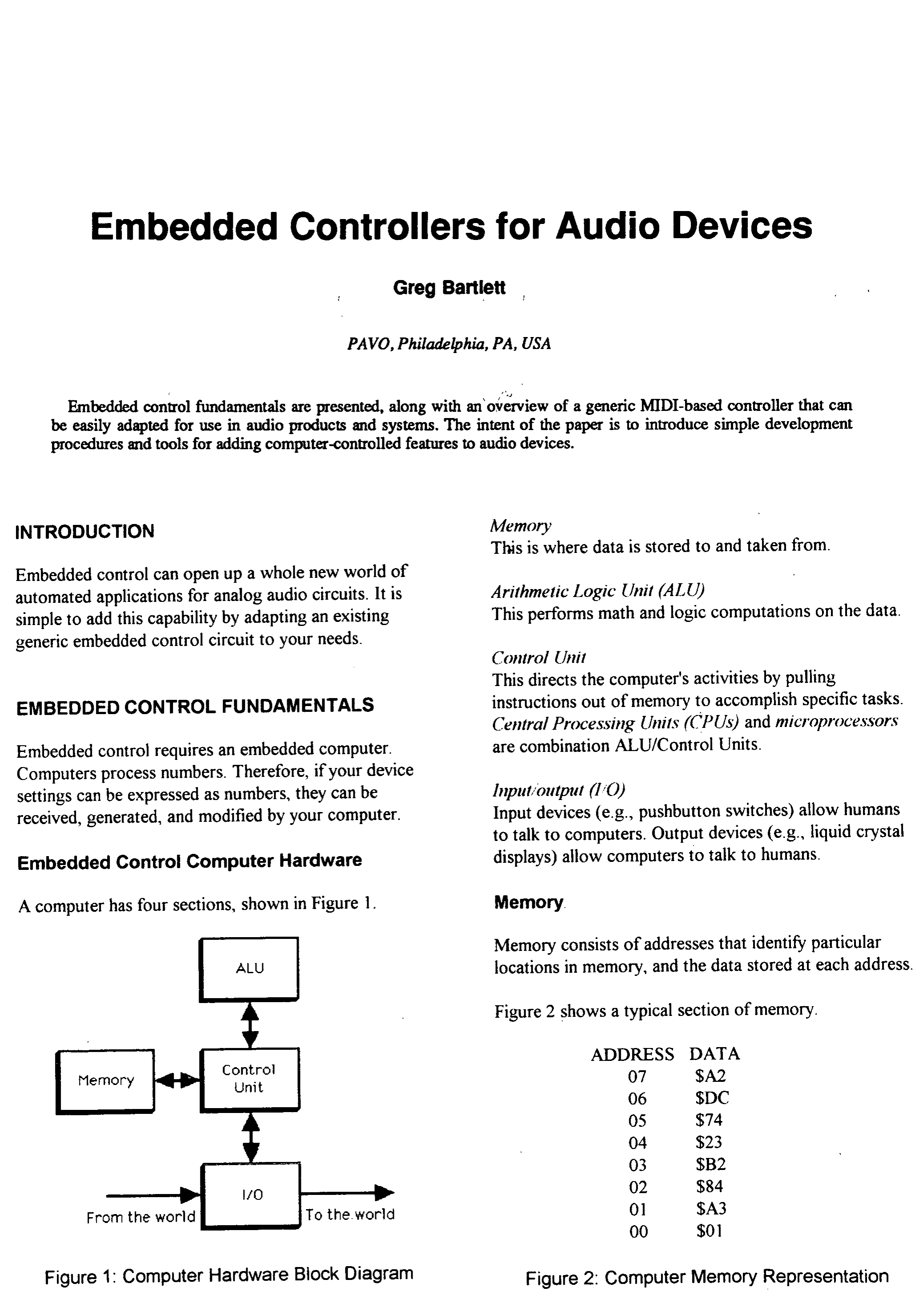 AES E-Library » Embedded Controilers for Audio Devices