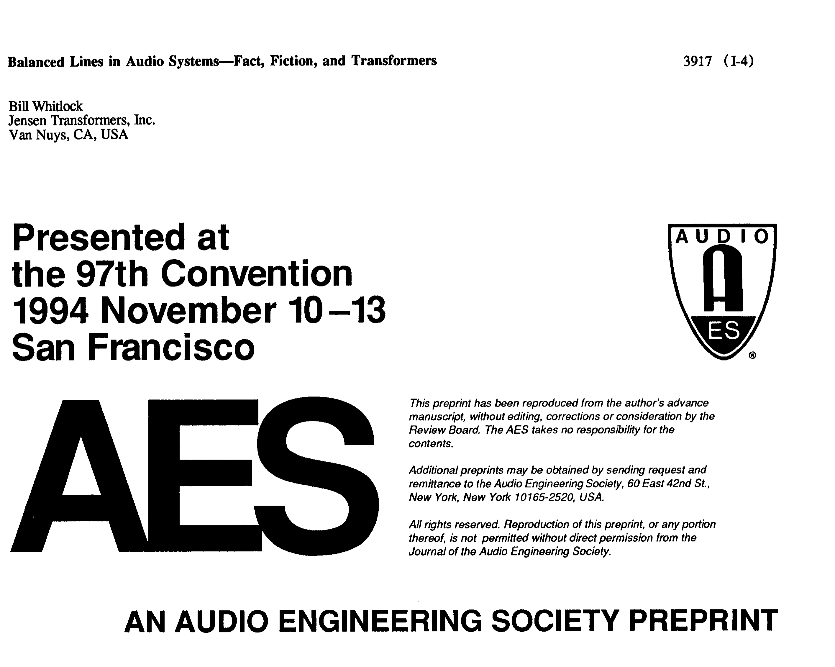 Aes E Library Balanced Lines In Audio Systems Fact Fiction And Isolation Transformers