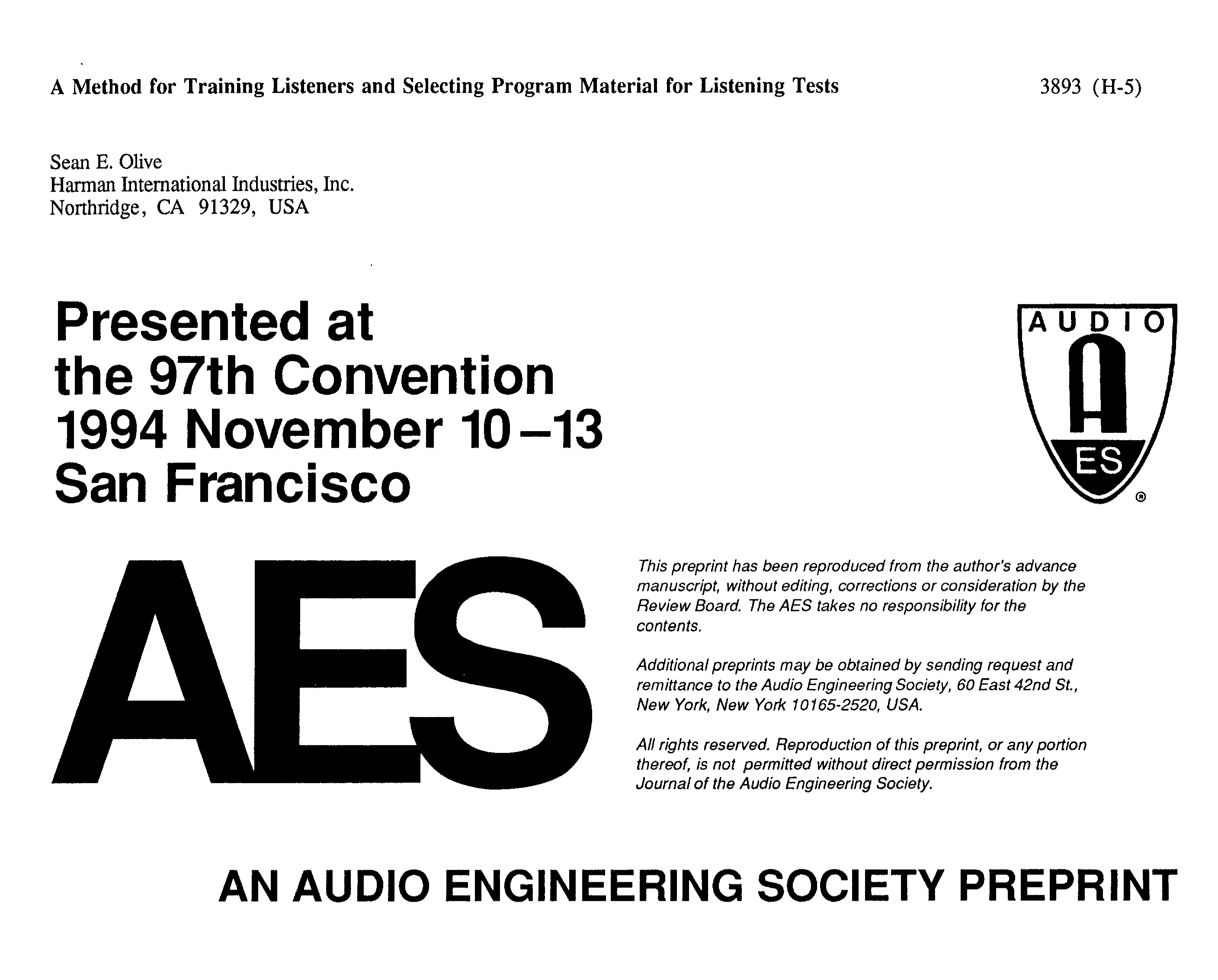AES E-Library » A Method for Training Listeners and