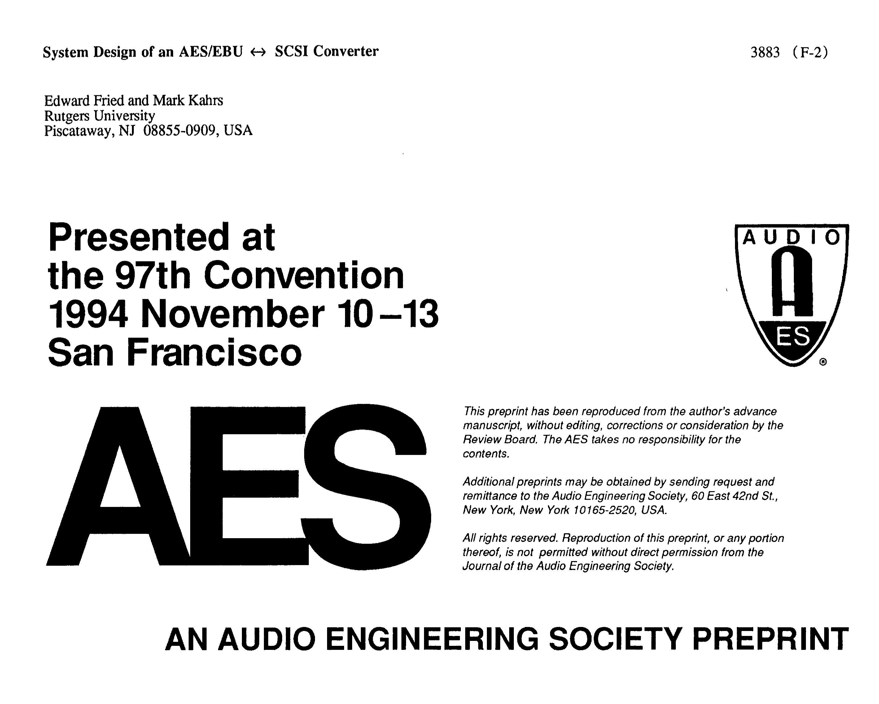 AES E-Library » System Design of an AES/EBU SCSI Converter