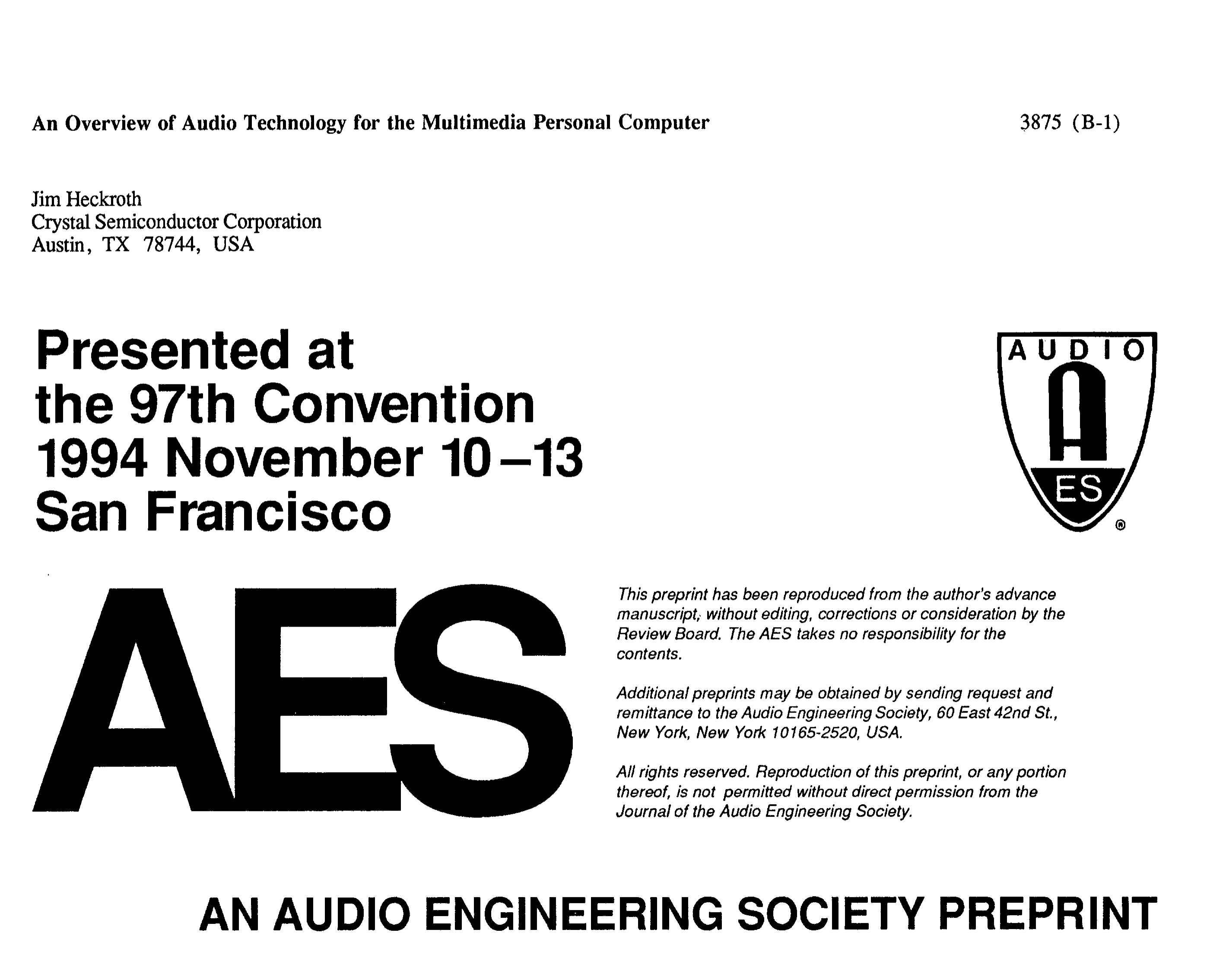 AES E-Library » An Overview of Audio Technology for the Multimedia