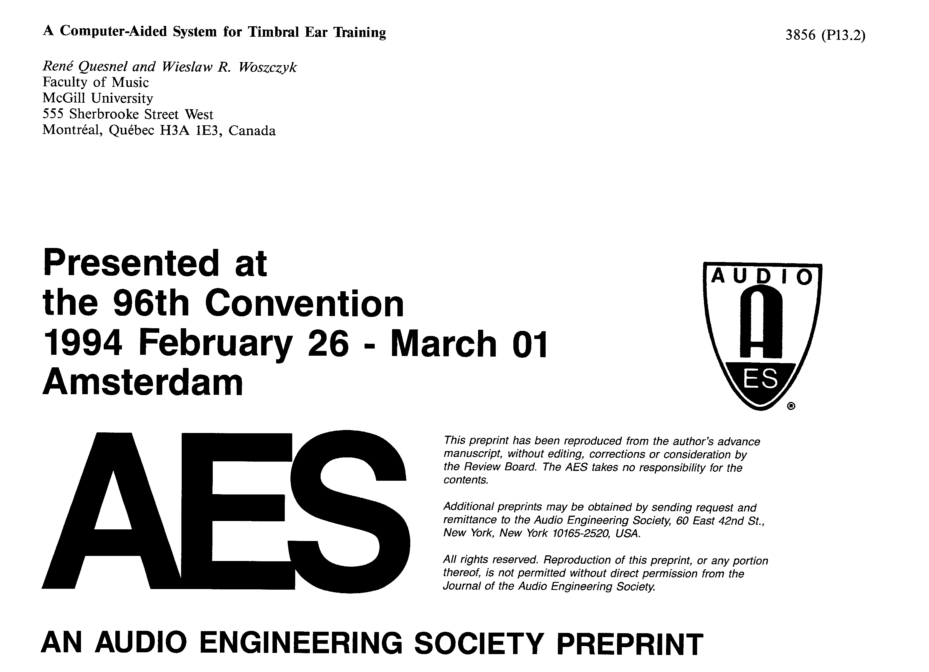AES E-Library » A Computer-Aided System for Timbral Ear Training