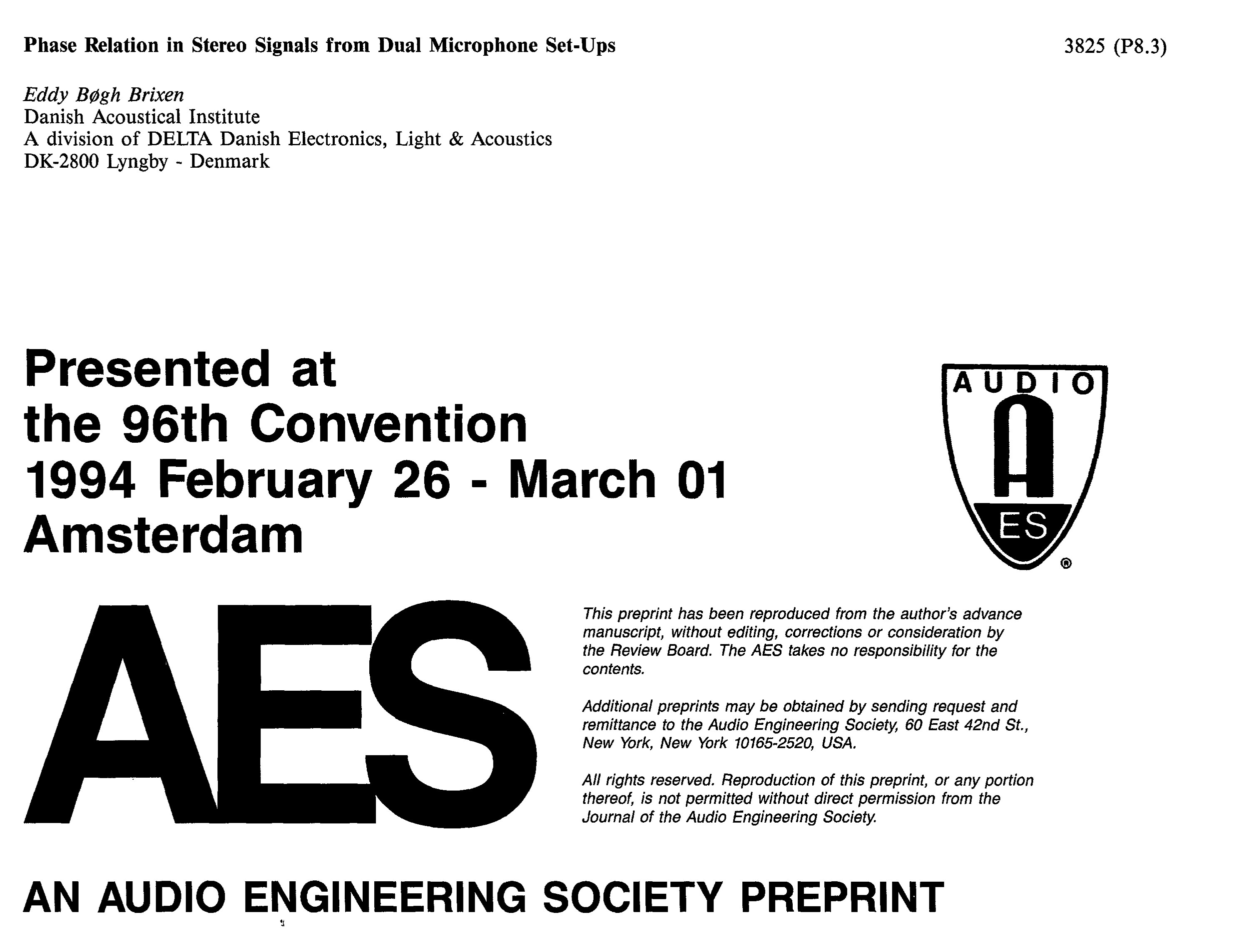 AES E-Library » Phase relation in stereo signals from dual