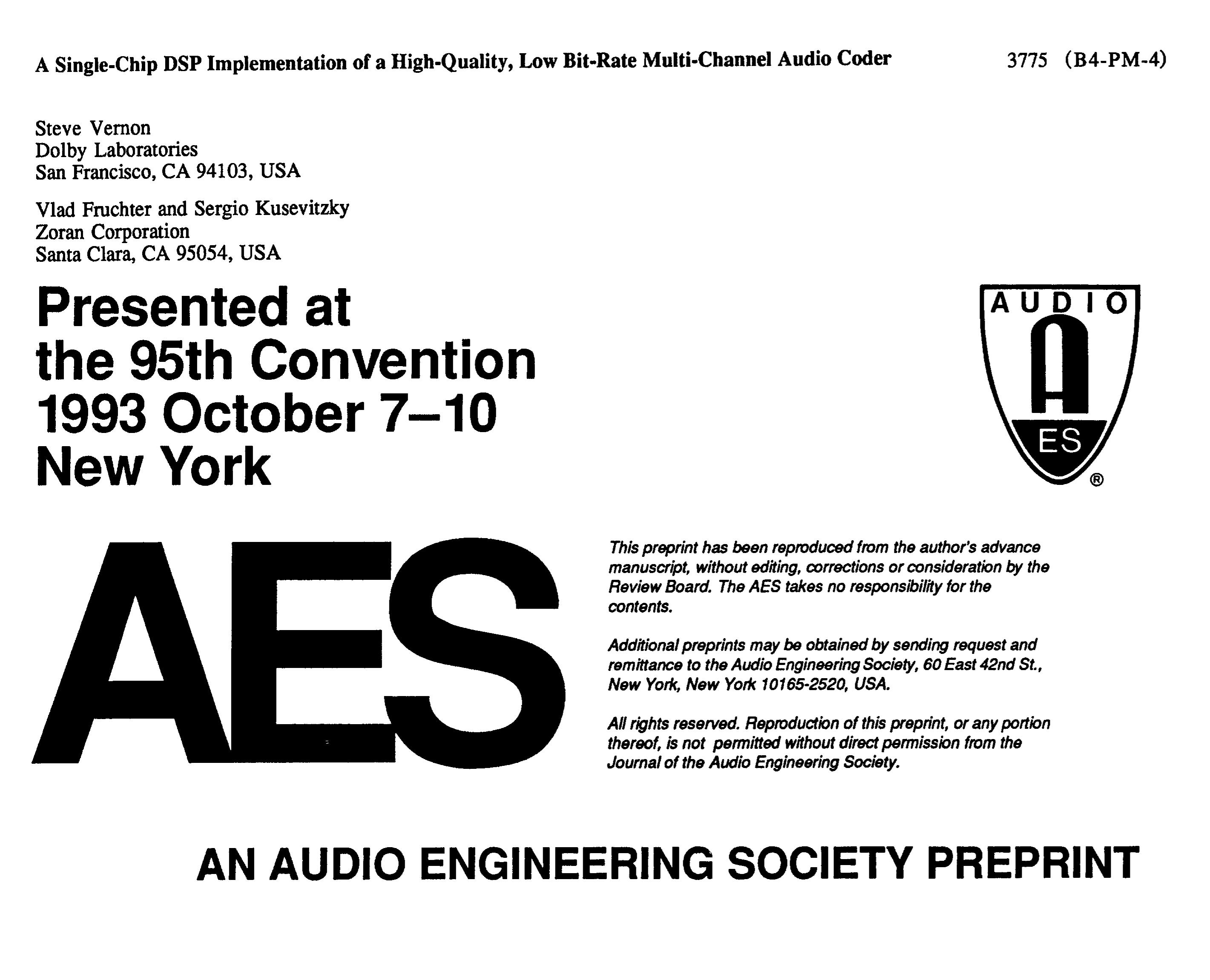 AES E-Library » A Single-Chip DSP Implementation of a High-Quality