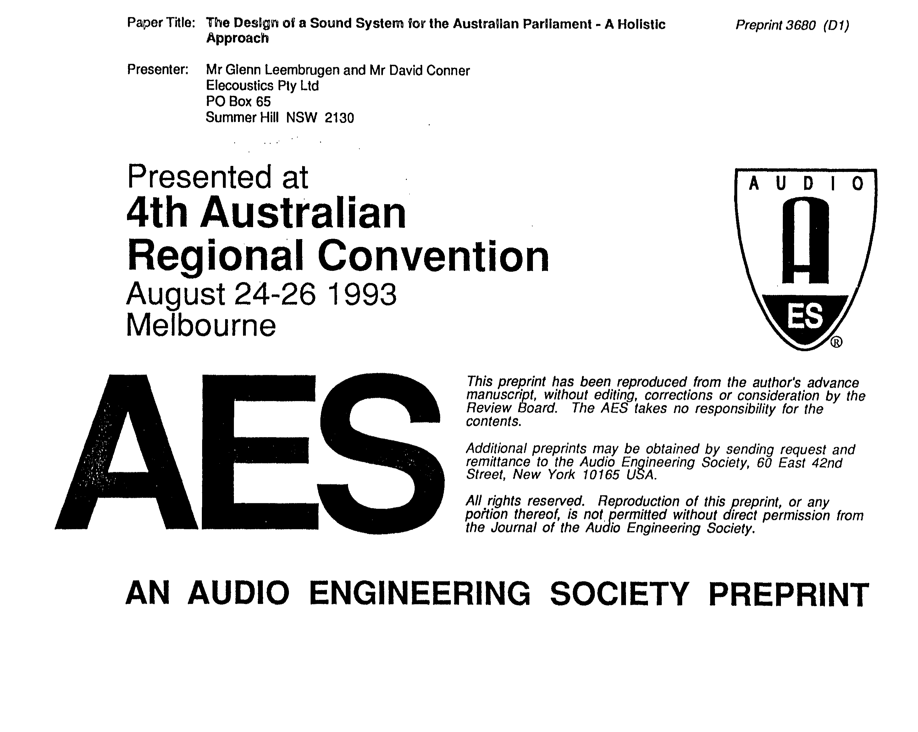 Aes E Library The Design Of A Sound System For Australian Ltz 250 Wiring Diagram Pariament Holistic Approach