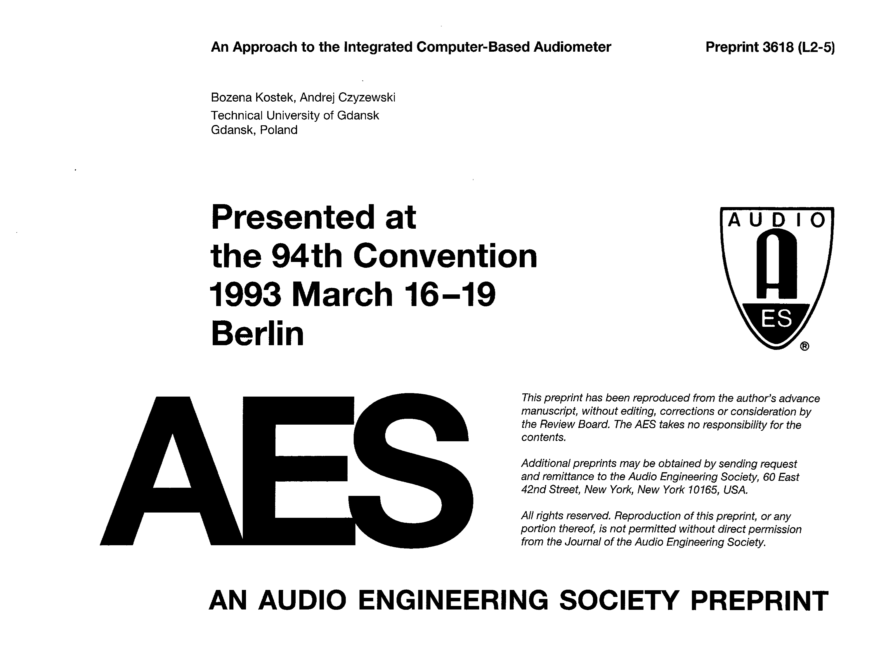 AES E-Library » An Approach to the Integrated Computer-Based