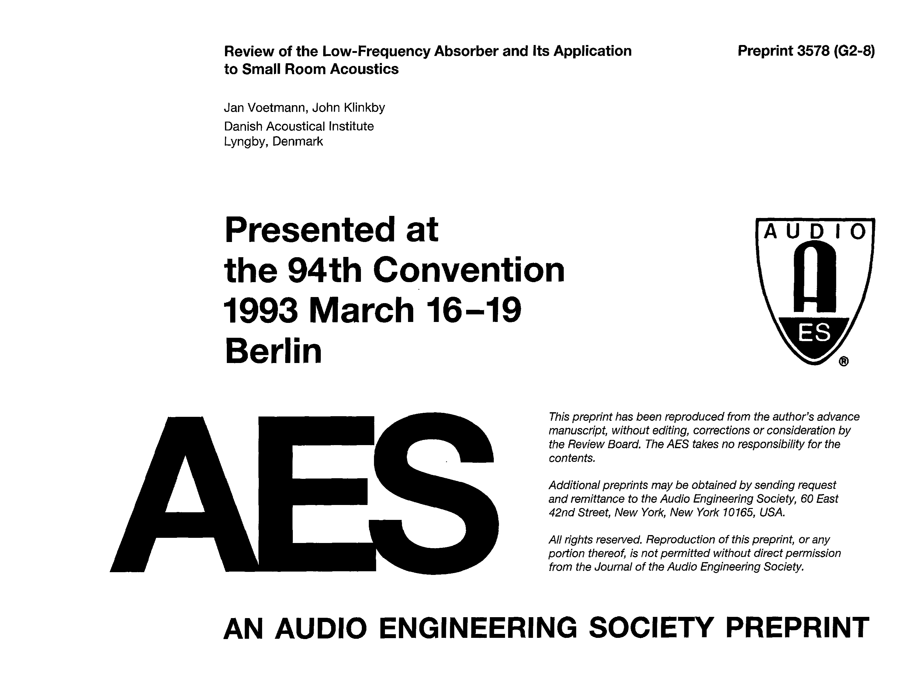 Aes E Library Review Of The Low Frequency Absorber And Its Ground Is A Different Process From Panel To Attached Thumbnails Application Small Room Acoustics