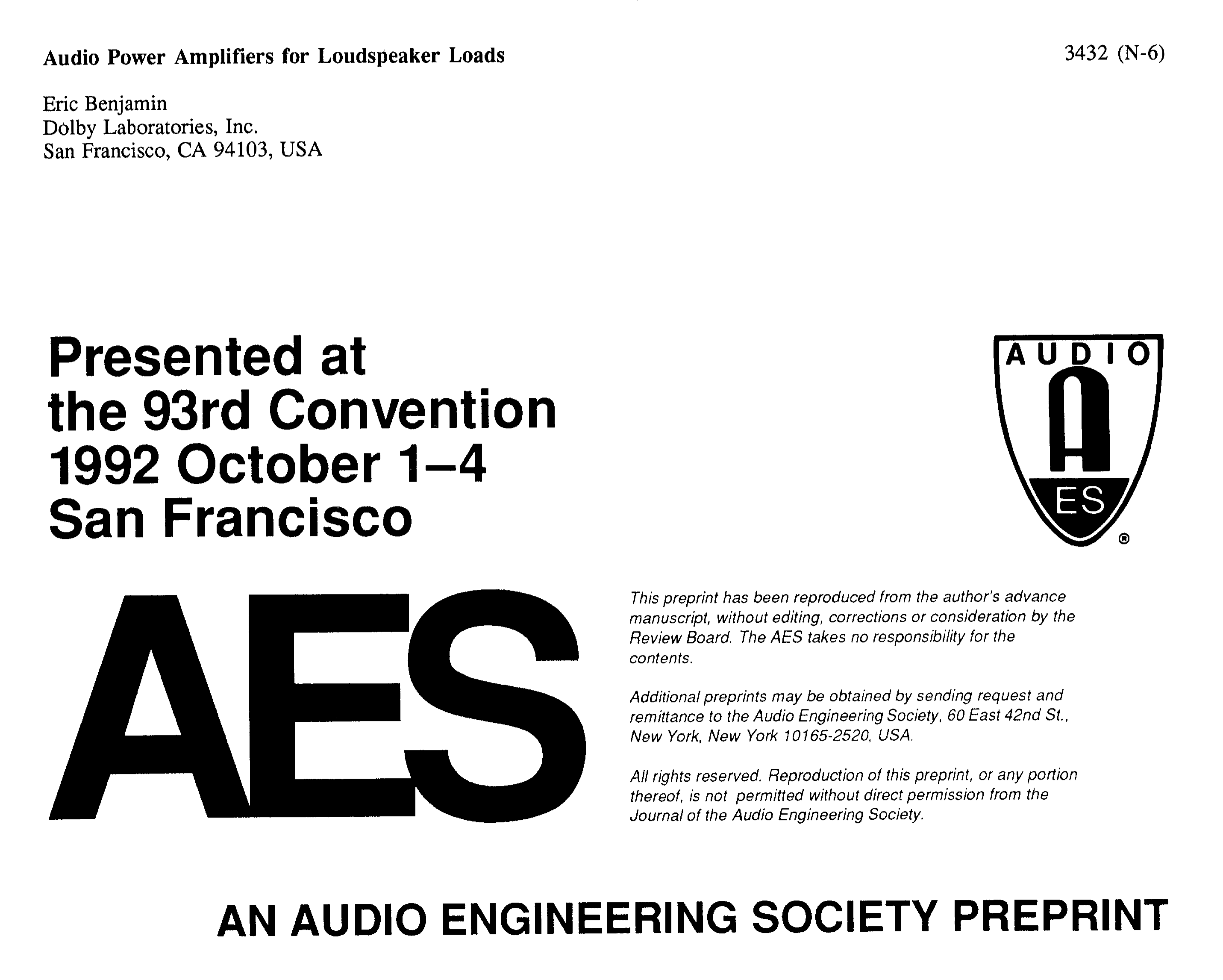 AES E-Library » Audio Power Amplifiers for Loudspeaker Loads
