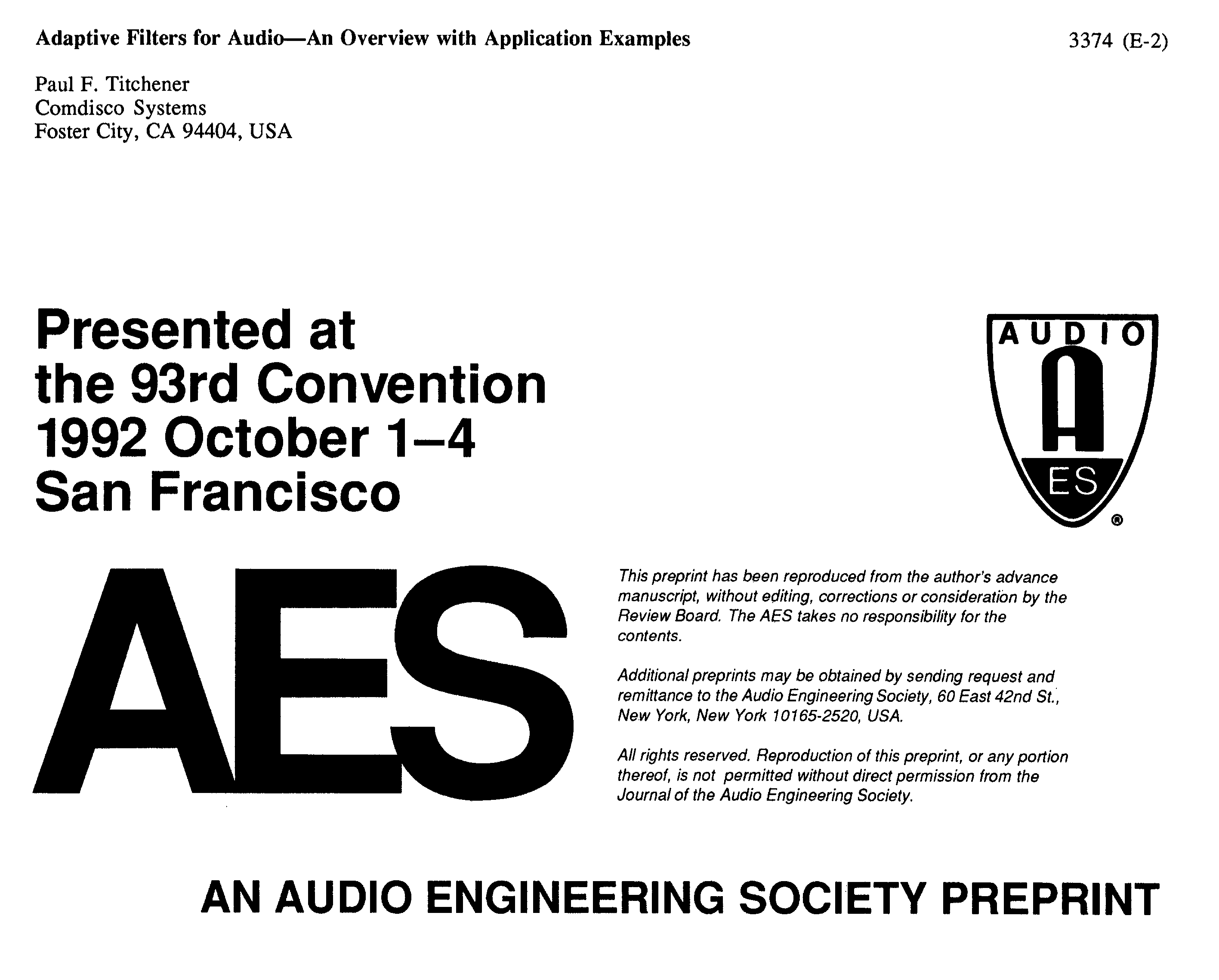 AES E-Library » Adaptive Filters for Audio-An Overview with