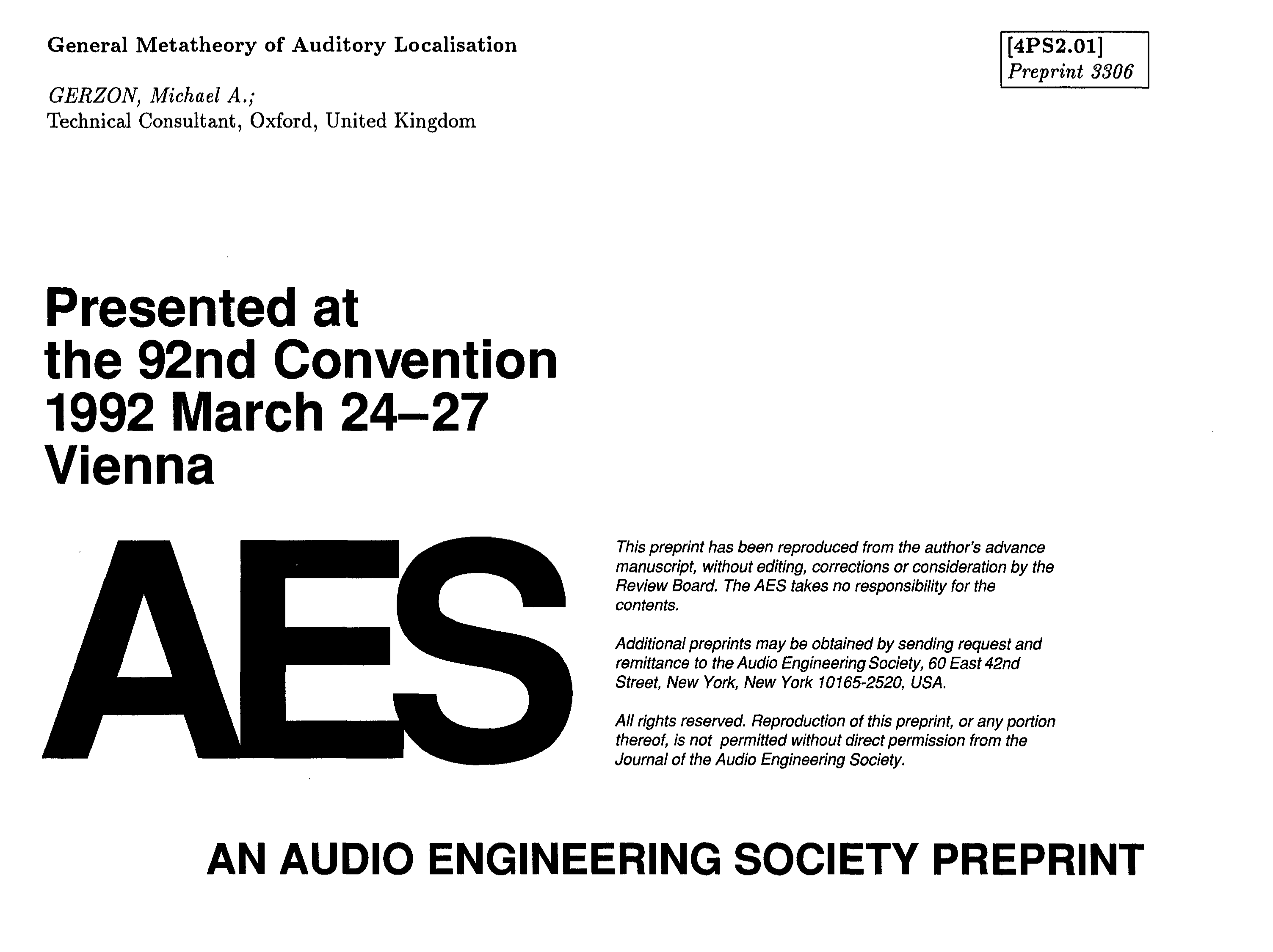 Aes E Library General Metatheory Of Auditory Localisation An Rc Integrator Is A Circuit That Approximates Themathematical