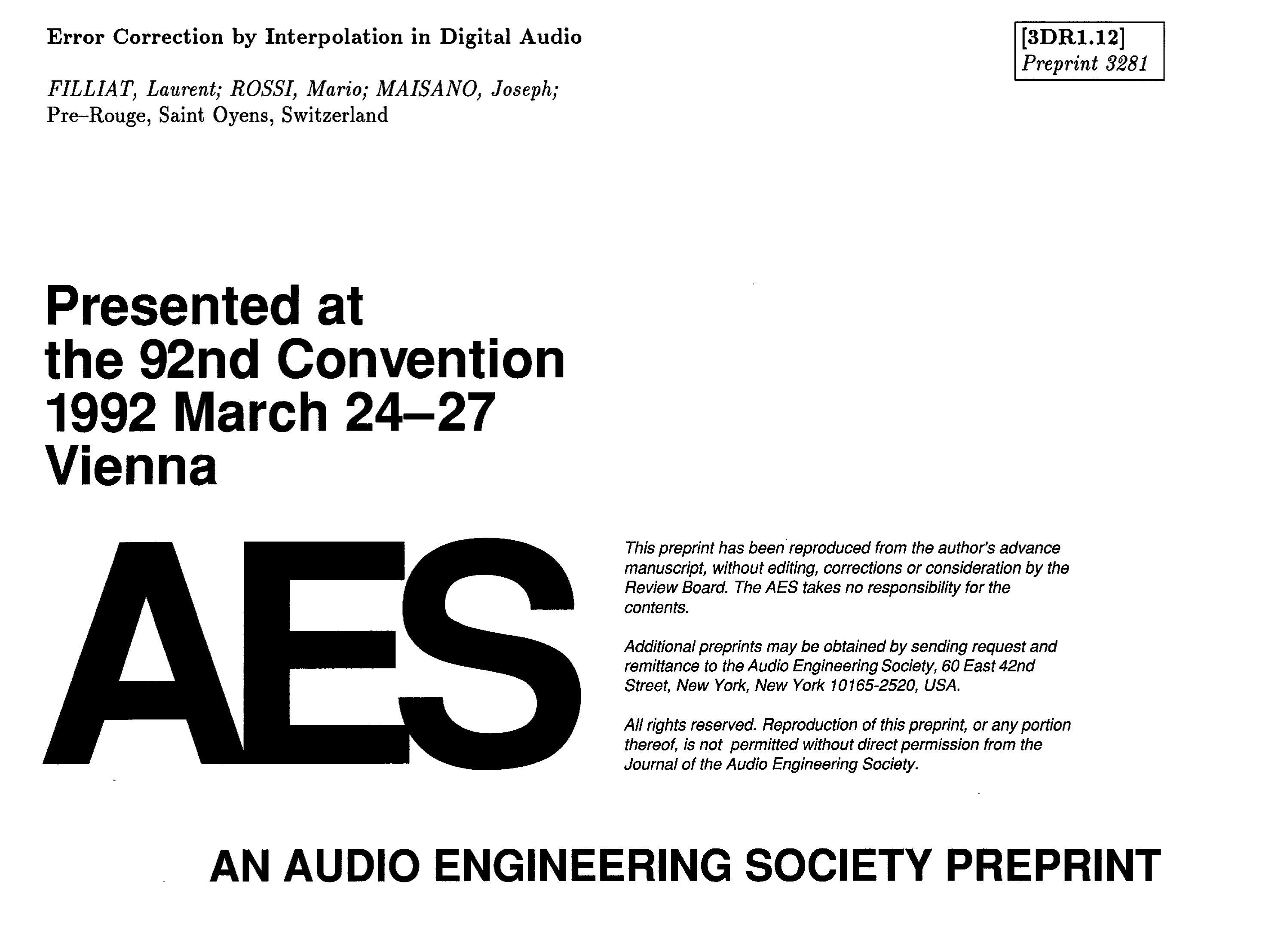 AES E-Library » Error Correction by Interpolation in Digital