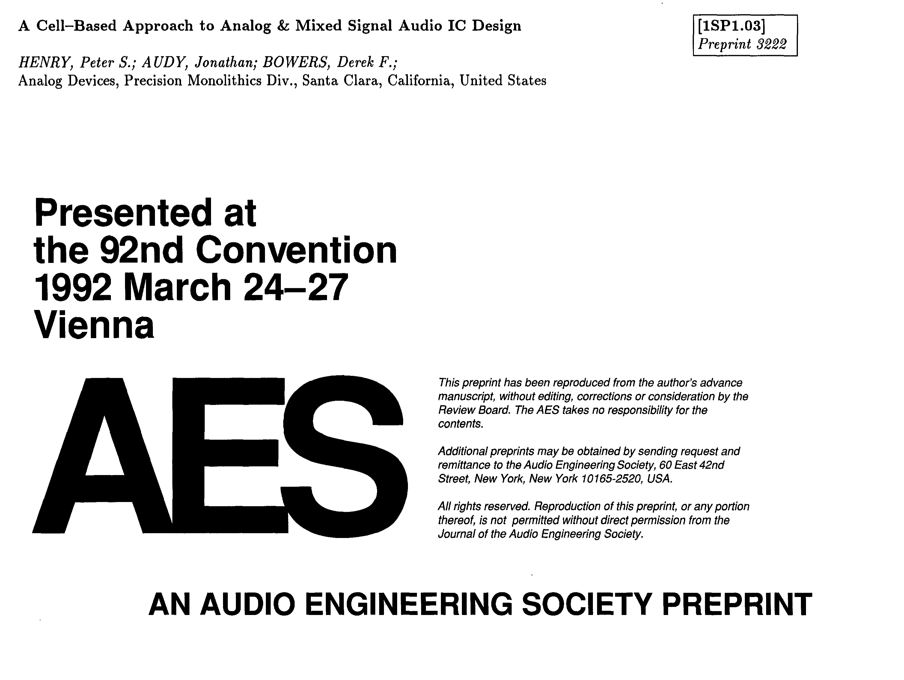 Aes E Library A Cell Based Approach To Analog And Mixed Signal Circuit Diagram Complementary Ttl Inverter Audio Ic Design