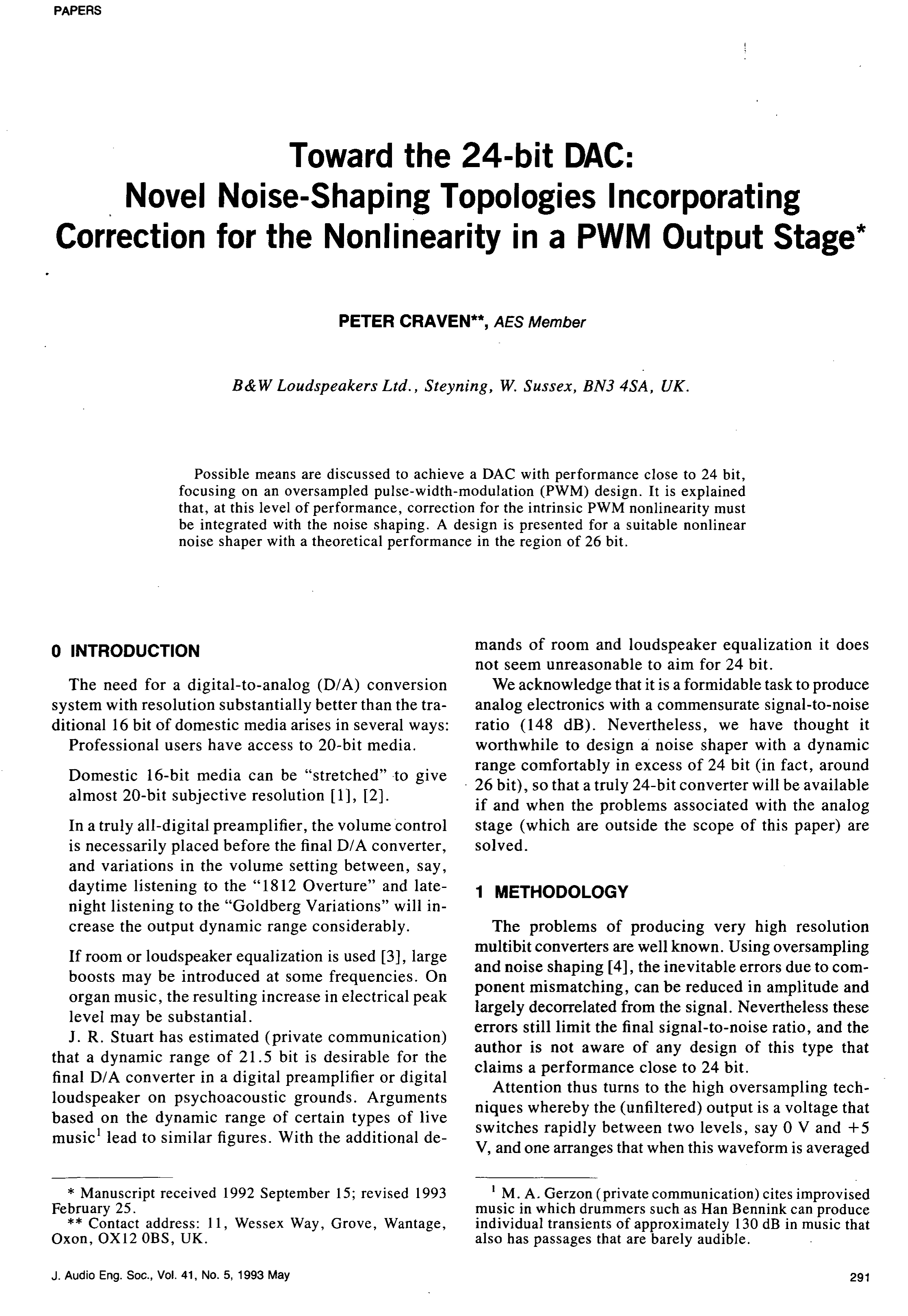 Aes E Library Toward The 24 Bit Dac Novel Noise Shaping Free Download Rg Wiring Diagram Push Pull Topologies Incorporating Correction For Nonlinearity In A Pwm Output Stage
