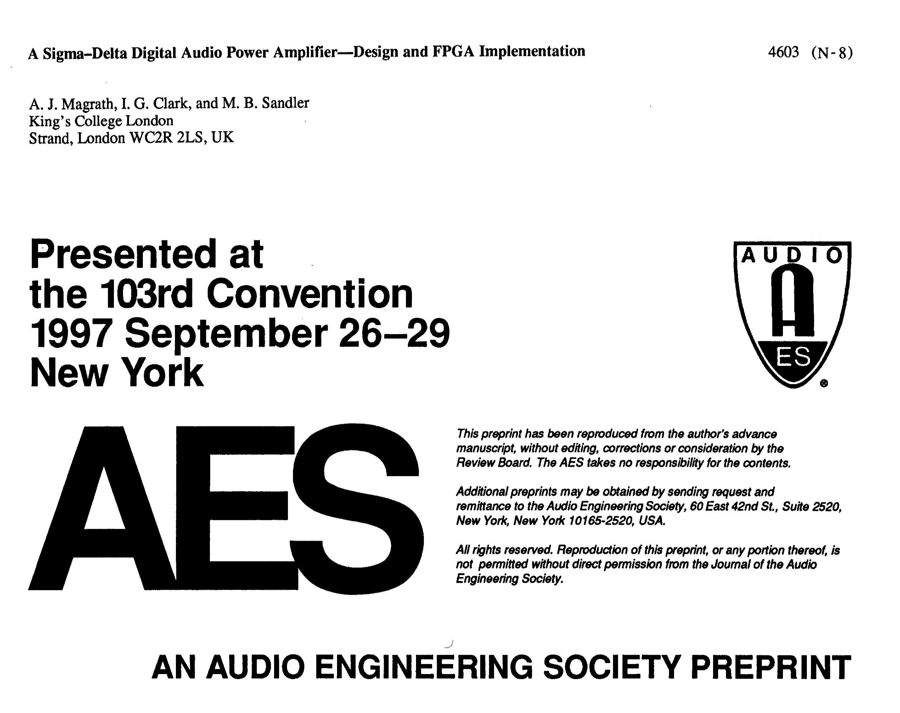 Aes E Library A Sigma Delta Digital Audio Power Amplifier Design Figure1 1 Bit Adder And Fpga Implementation