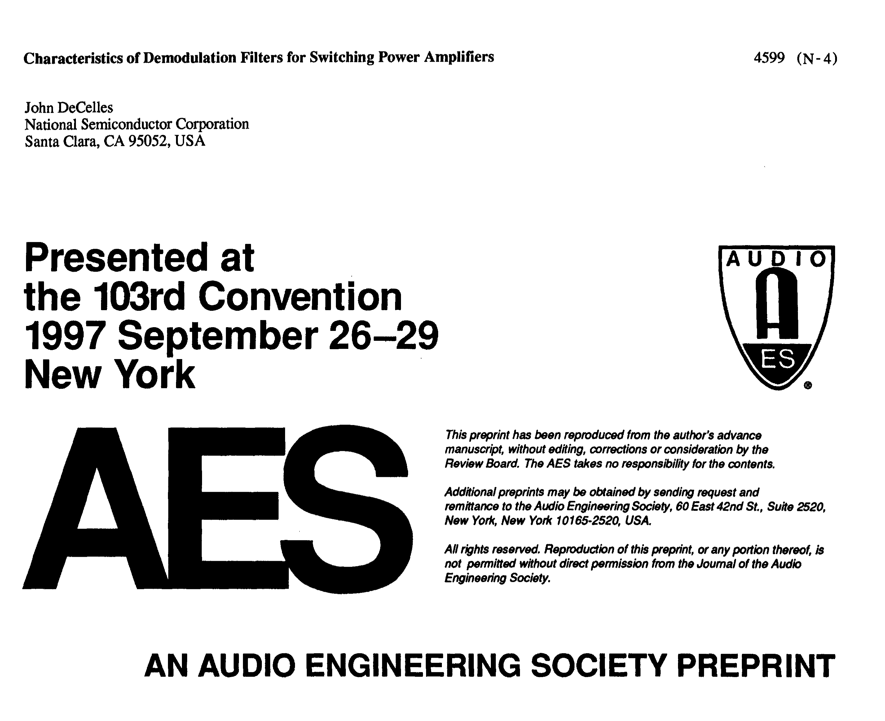 Aes E Library Characteristics Of Demodulation Filters For Filter Circuits Inductor Lc Clc Or Pi Switching Power Amplifiers
