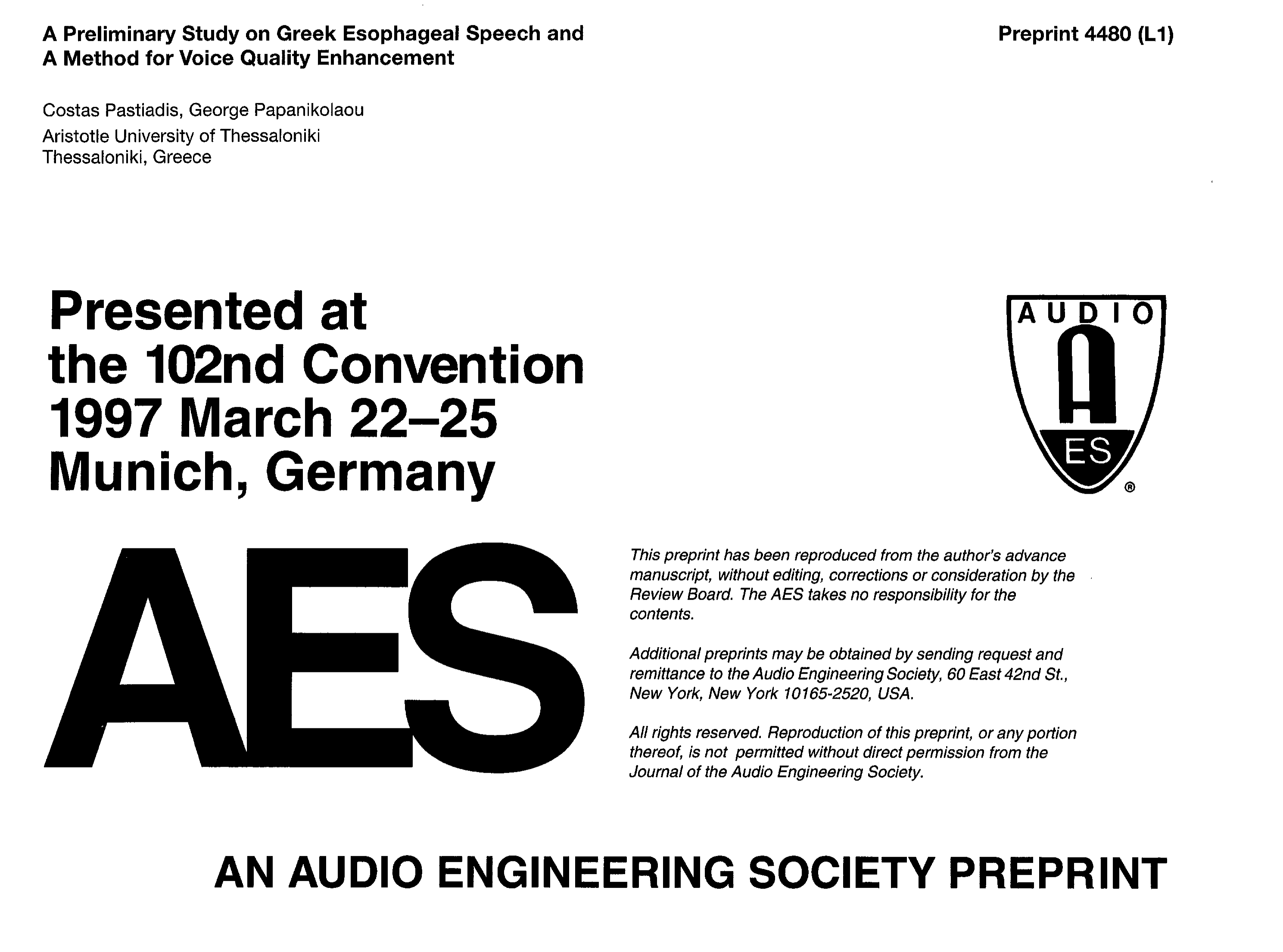 Aes E Library A Preliminary Study On Greek Esophagael Speech And Block Diagram Of Recognition Procedures Method For Voice Quality Enhancement
