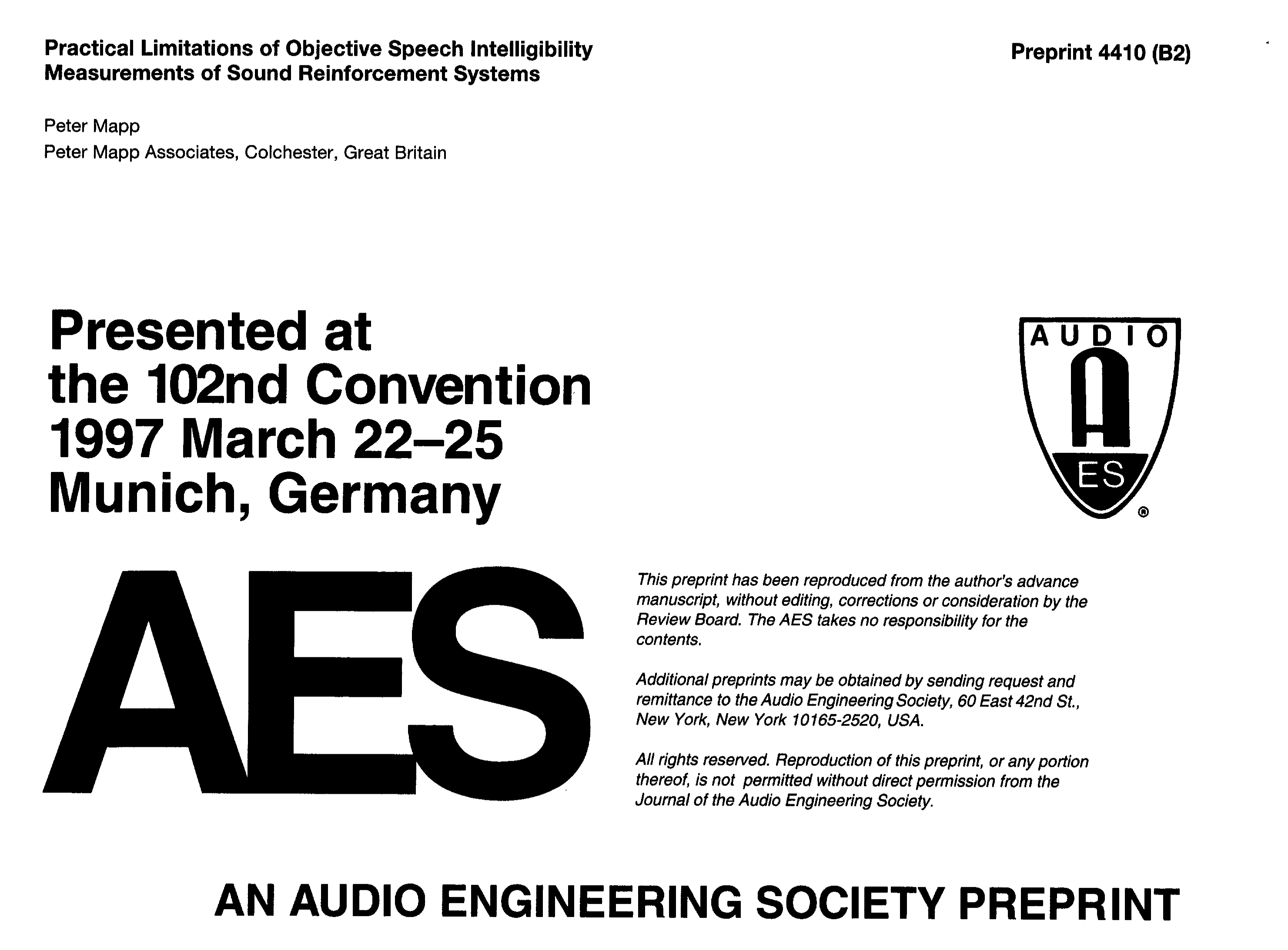 Aes E Library Practical Limitations Of Objective Speech Ntc Selection Criteria Steady State Current Intelligibility Measurements Sound Reinforcement Systems