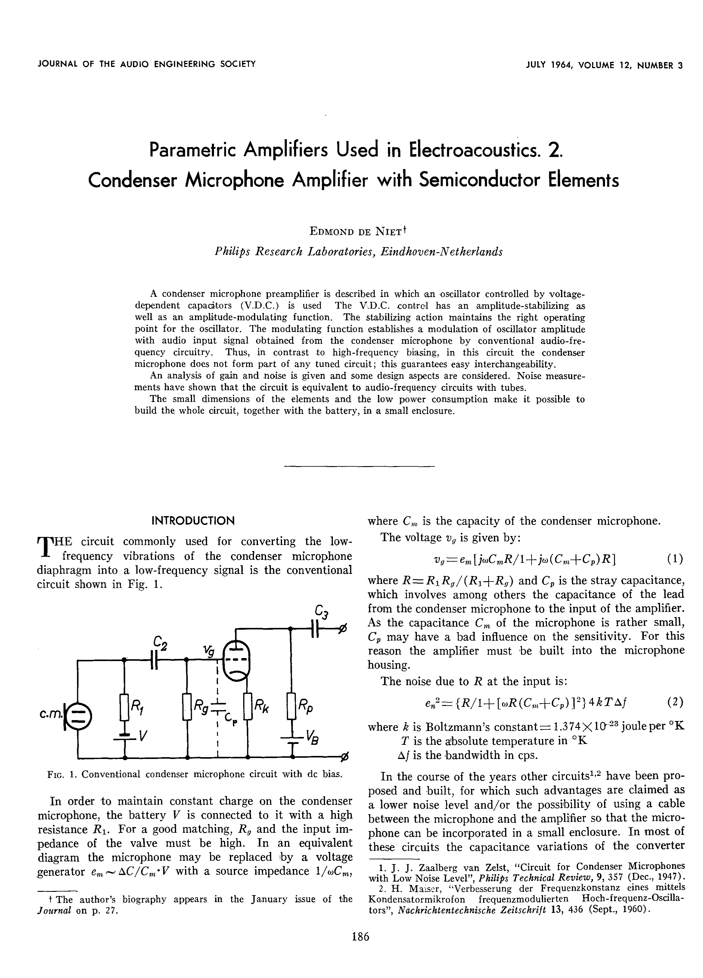 Aes E Library Parametric Amplifiers Used In Electroacoustics Part Constant Volume Fet Amplifier Circuit Making Easy Circuits 2 The Condenser Microphone With Semiconductor Elements