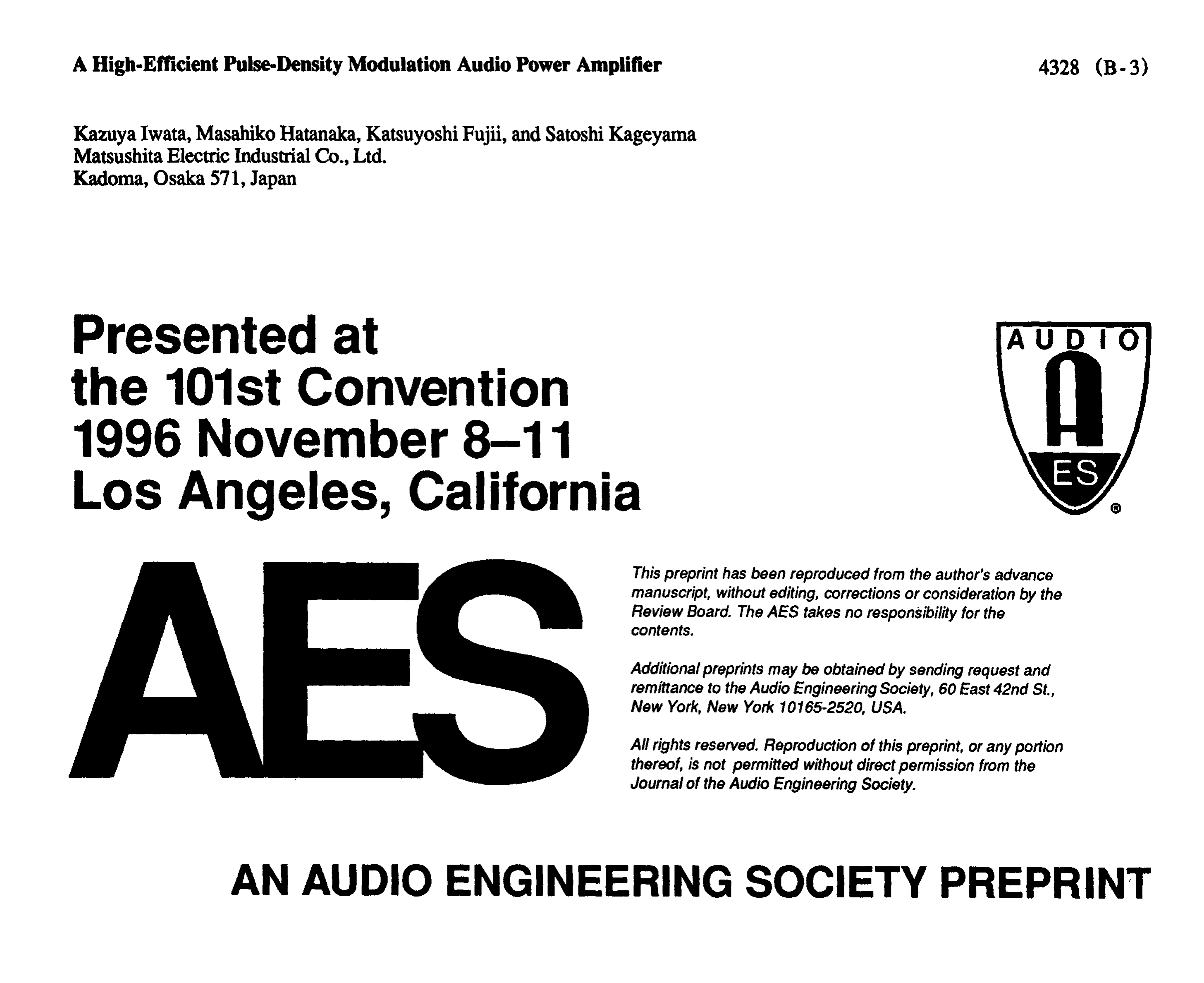 AES E-Library » A High-Efficient Pulse-Density Modulation