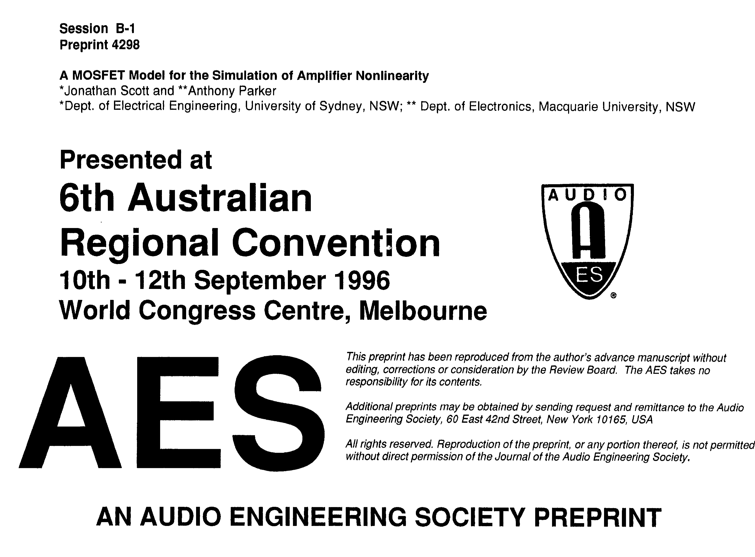 Aes E Library A Mosfet Model For The Simulation Of Amplifier 60 W Audio Circuit Todays Circuits Engineering Nonlinearity