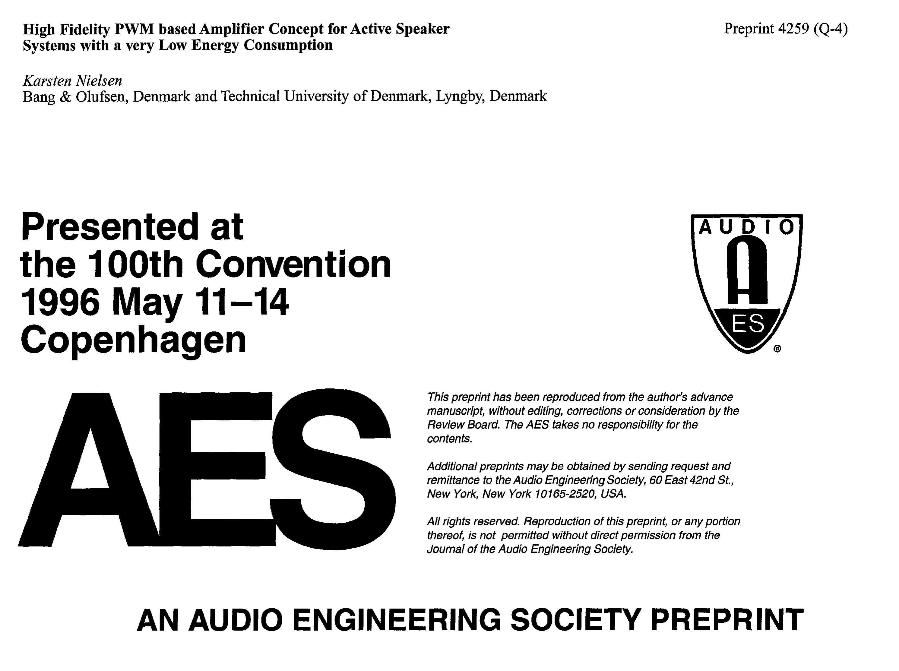 Aes E Library High Fidelity Pwm Based Amplifier Concept For Active 60 W Audio Circuit Todays Circuits Engineering Speaker Systems With A Very Low Energy Consumption
