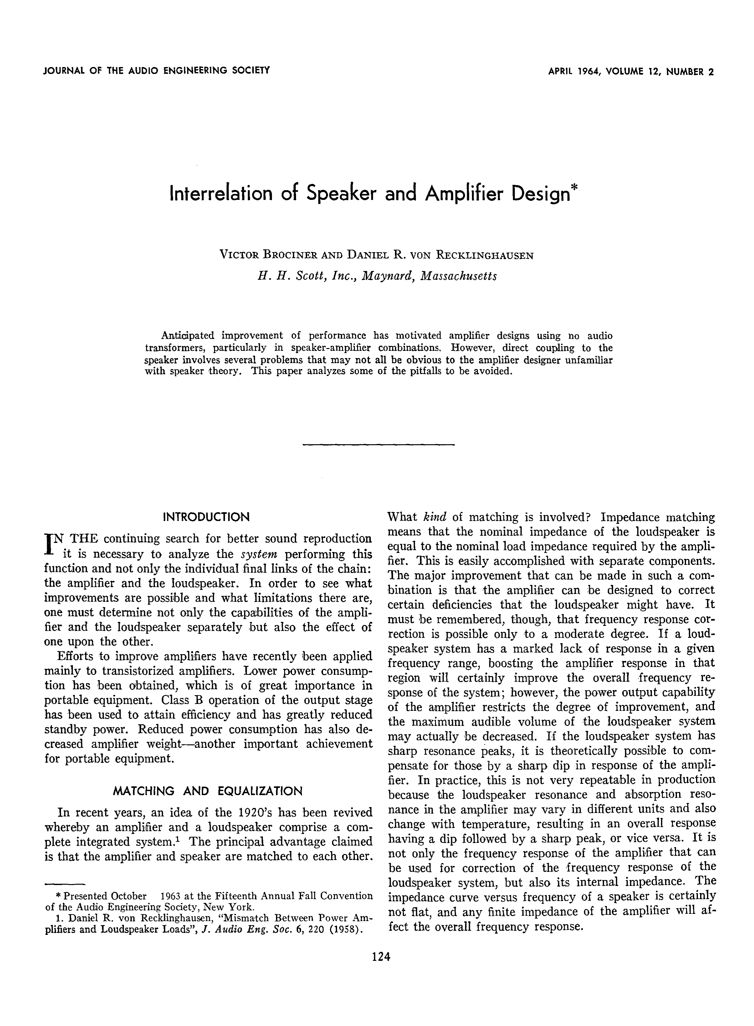 AES E-Library » Interrelation of Speaker and Amplifier Design