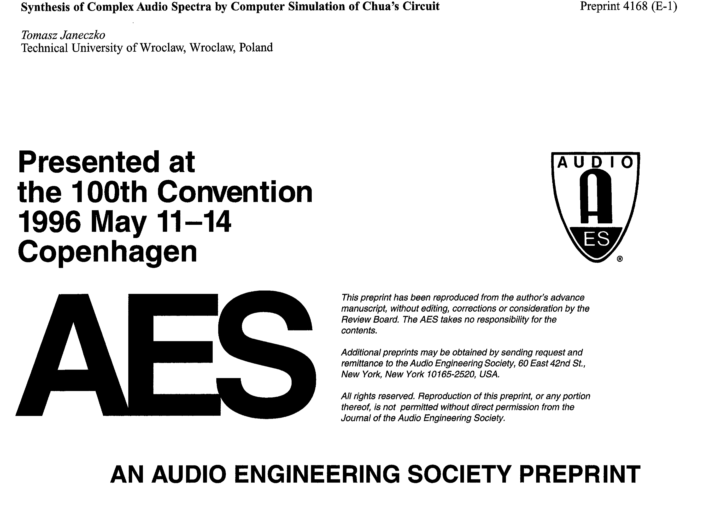 Aes E Library Synthesis Of Complex Audio Spectra By Computer Voltagecontrolled Oscillator Circuit Signalprocessing Simulation Chuas
