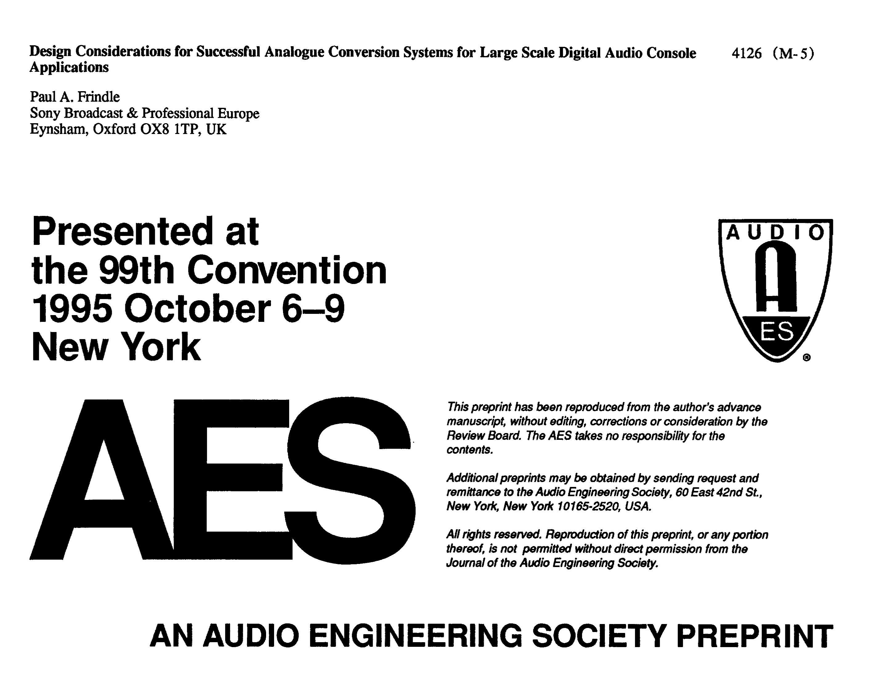 Aes E Library Design Considerations For Successful Analog Audio Line Highend Preamplifier With Ics Conversion Systems Large Scale Digital Console Applications