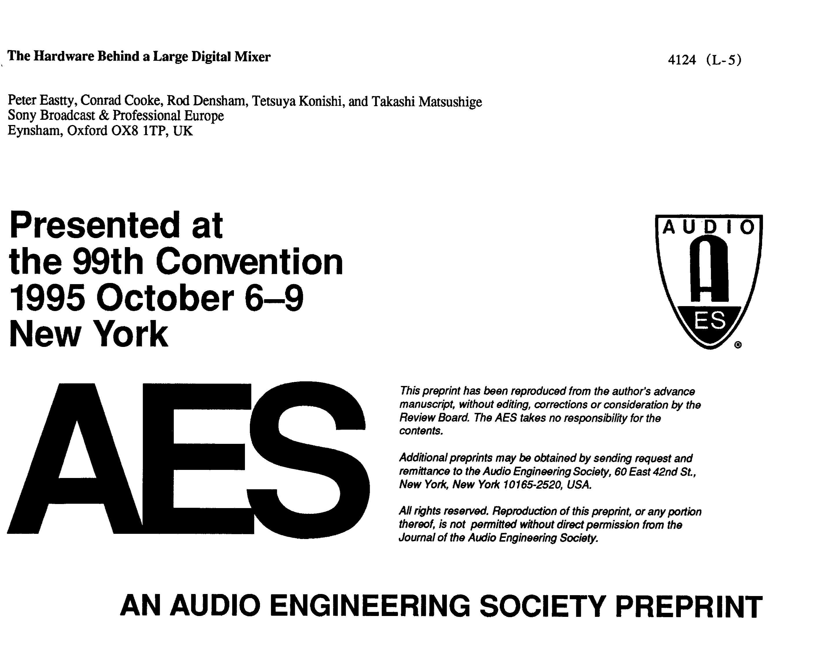 Aes E Library The Hardware Behind A Large Digital Mixer Fastest 14 Bit Sample And Hold Amplifier