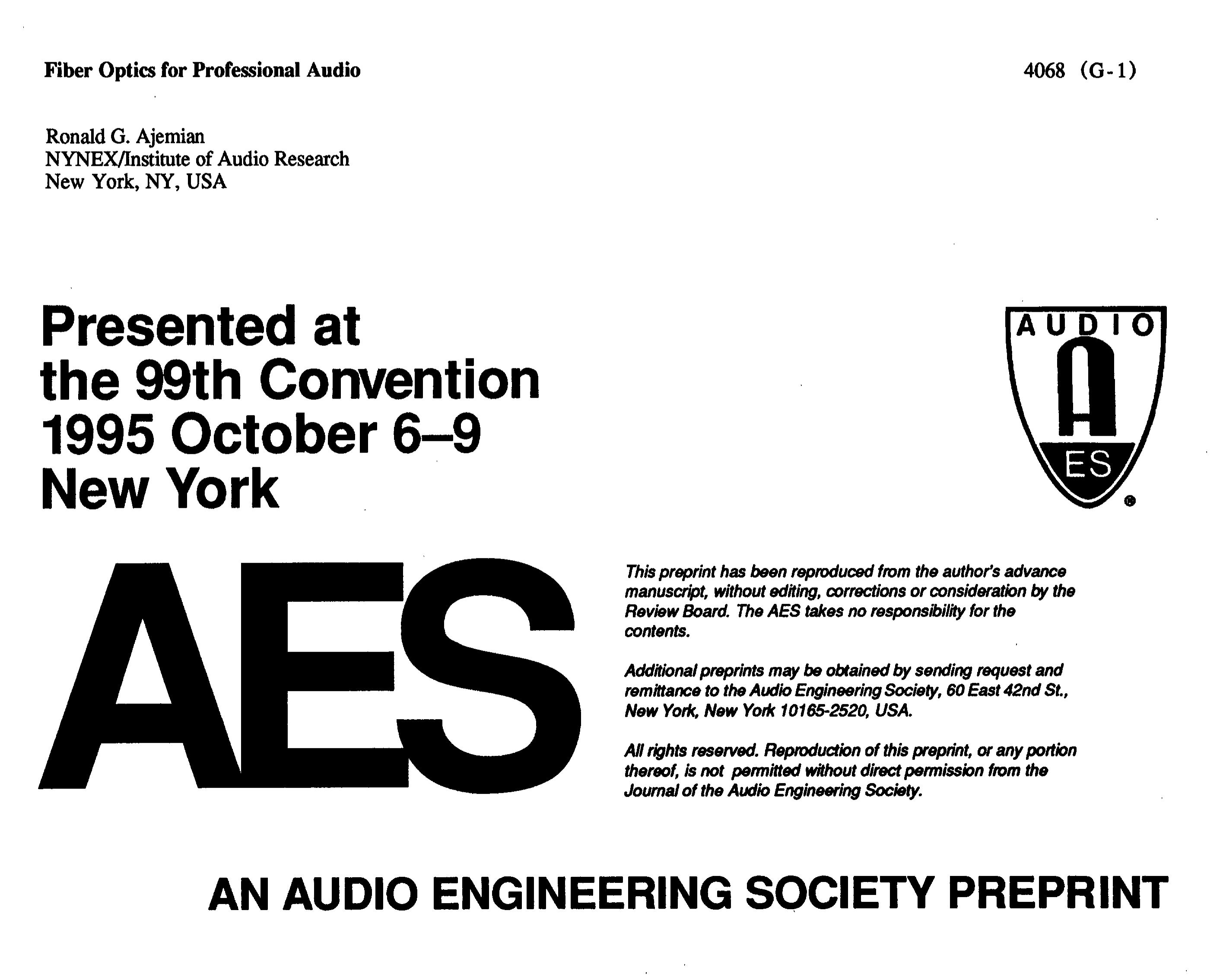 AES E-Library » Fiber Optics for Professional Audio