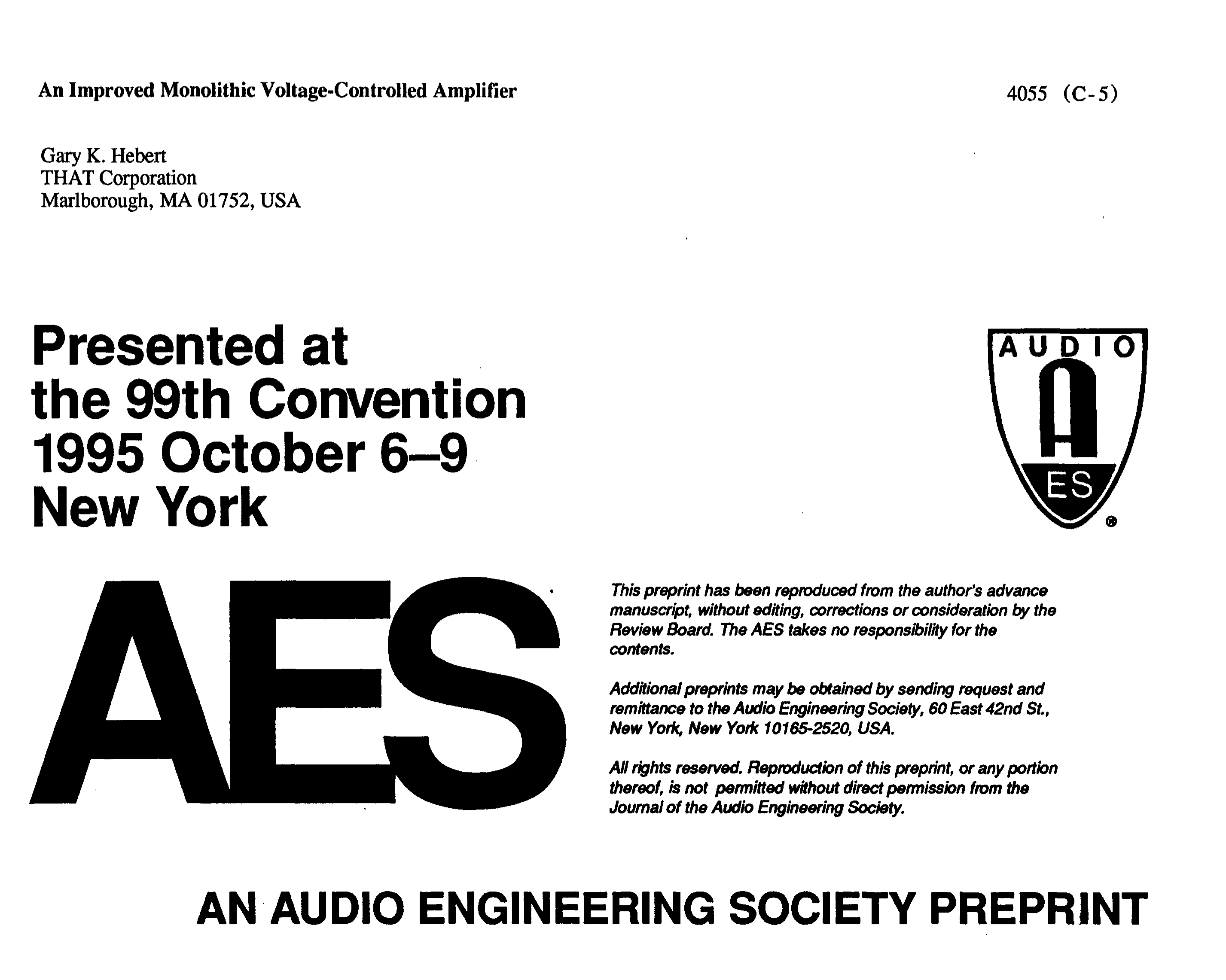 Aes E Library An Improved Monolithic Voltage Controlled Amplifier Ac Coupling And Offset In