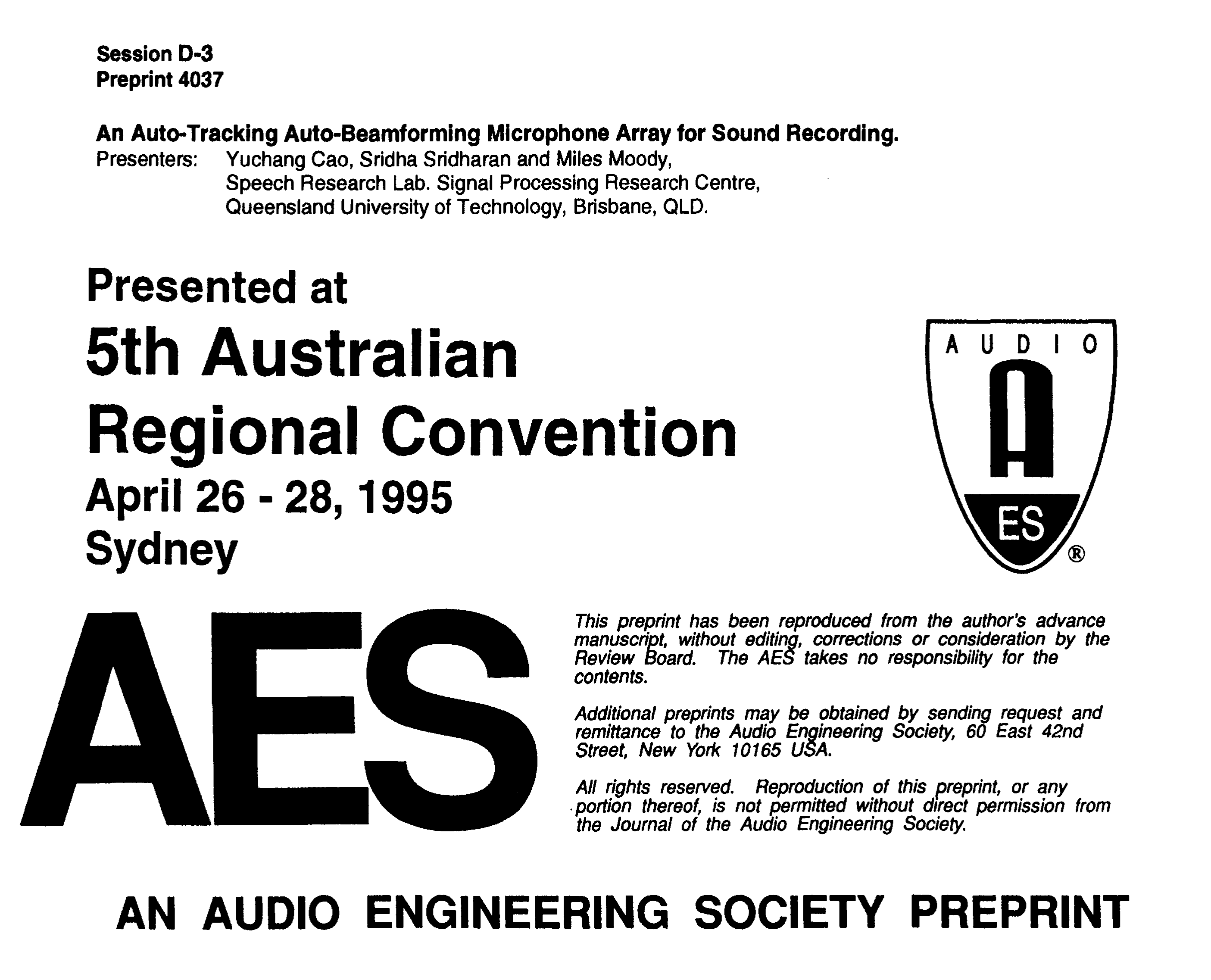 AES E-Library » An Auto-Tracking Auto-Beamforming Microphone Array