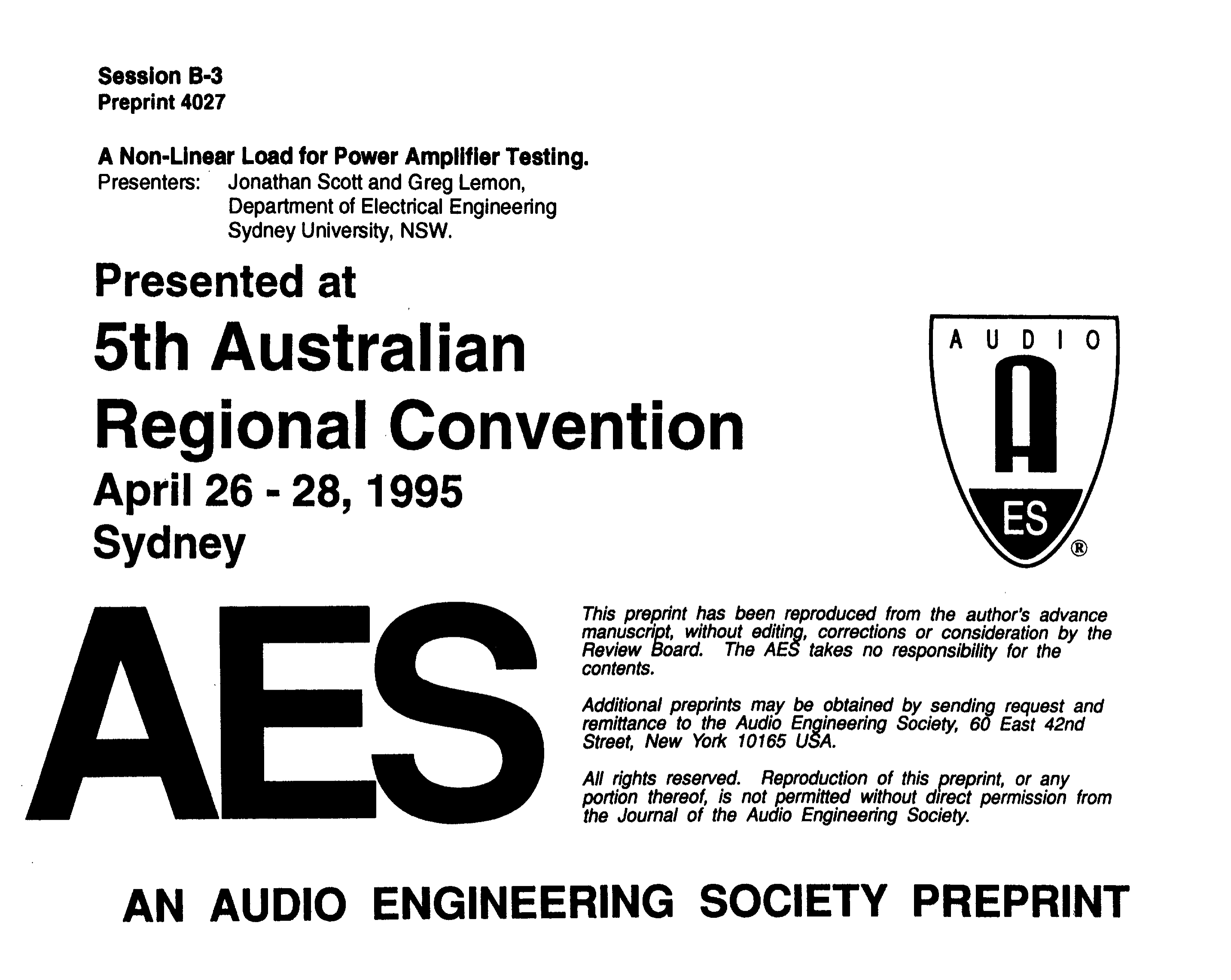 AES E-Library » A Non-Linear Load for Power Amplifier Testing