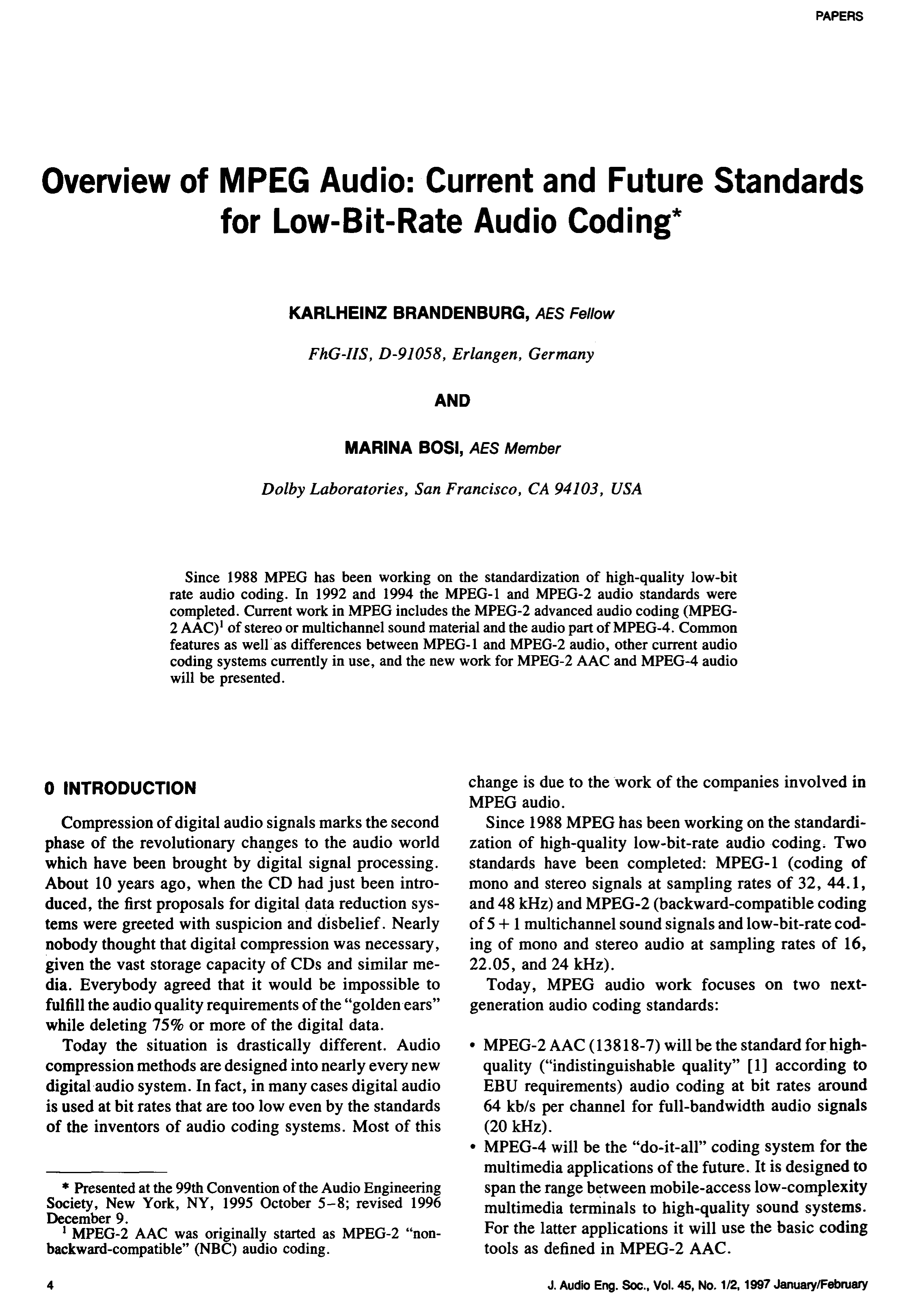 Aes E Library Overview Of Mpeg Audio Current And Future Standards 45khz Lowpass Statevariable Filter Circuit Diagram Tradeofic For Low Bit Rate Coding