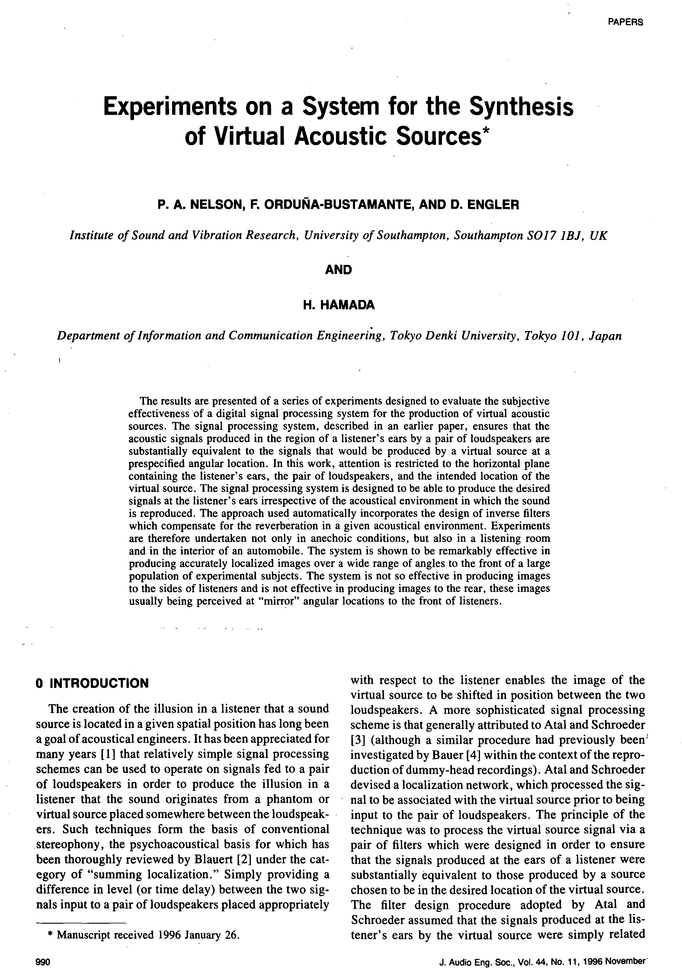 aes e library a experiments on a system for the synthesis of virtual