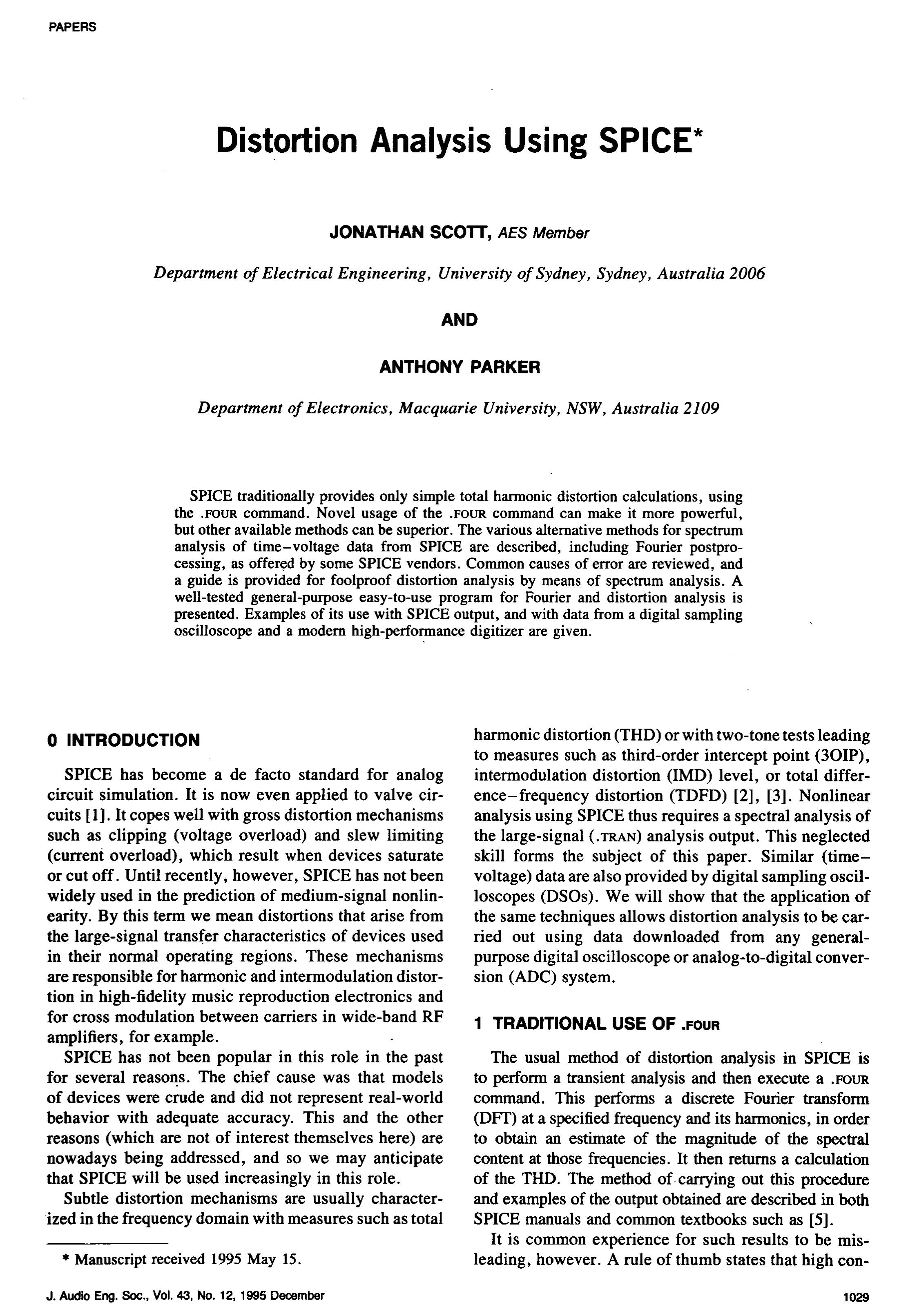 Aes E Library Distortion Analysis Using Spice Download Free Generalpurpose Circuit Simulation Program