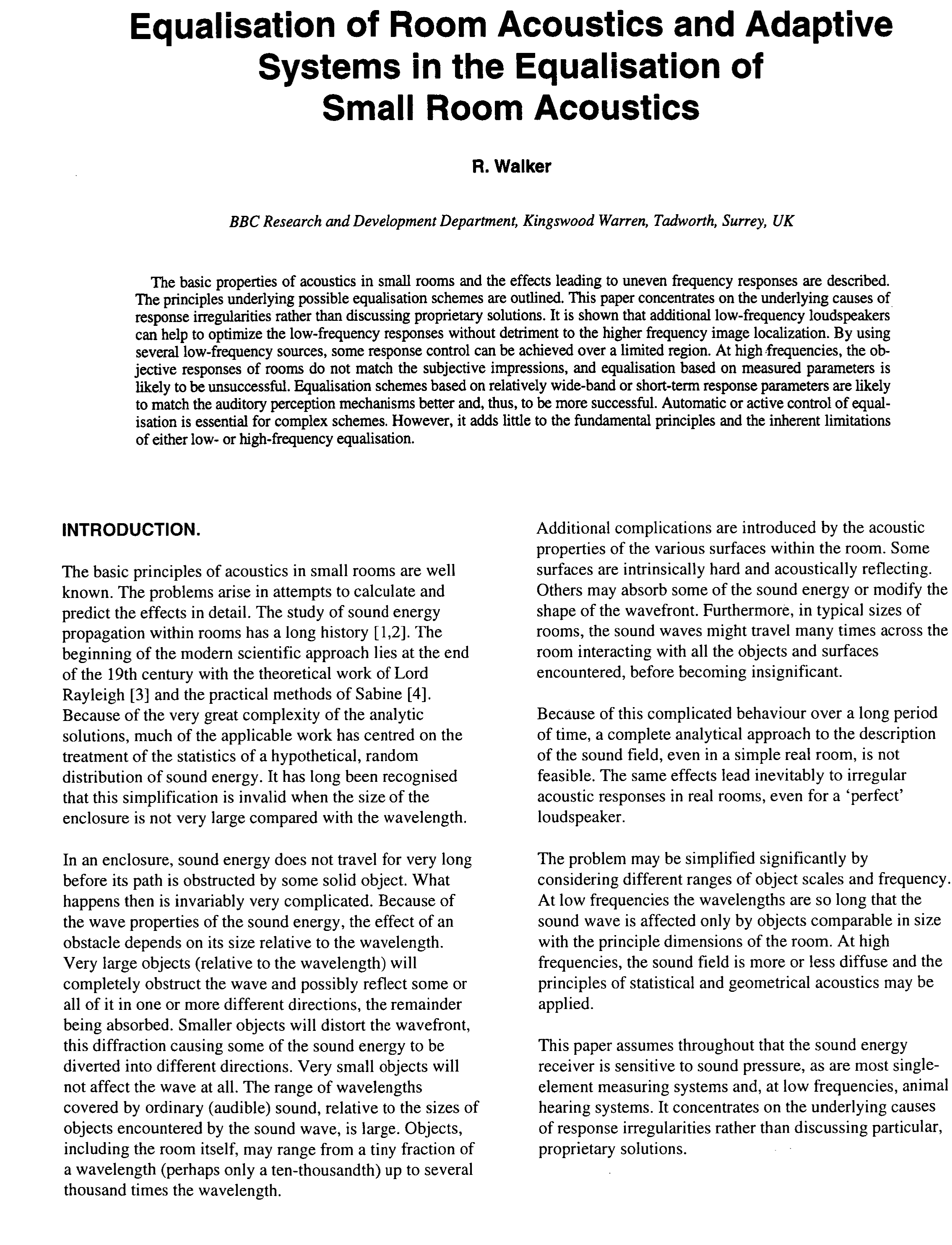 AES E-Library » Equalization of Room Acoustics and Adaptive Systems