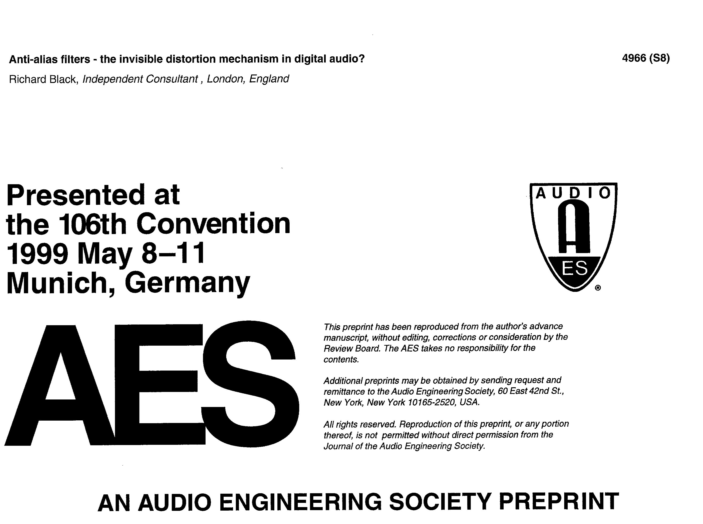 Aes E Library Anti Alias Filters The Invisible Distortion Low Audio Range Oscillator Mechanism In Digital