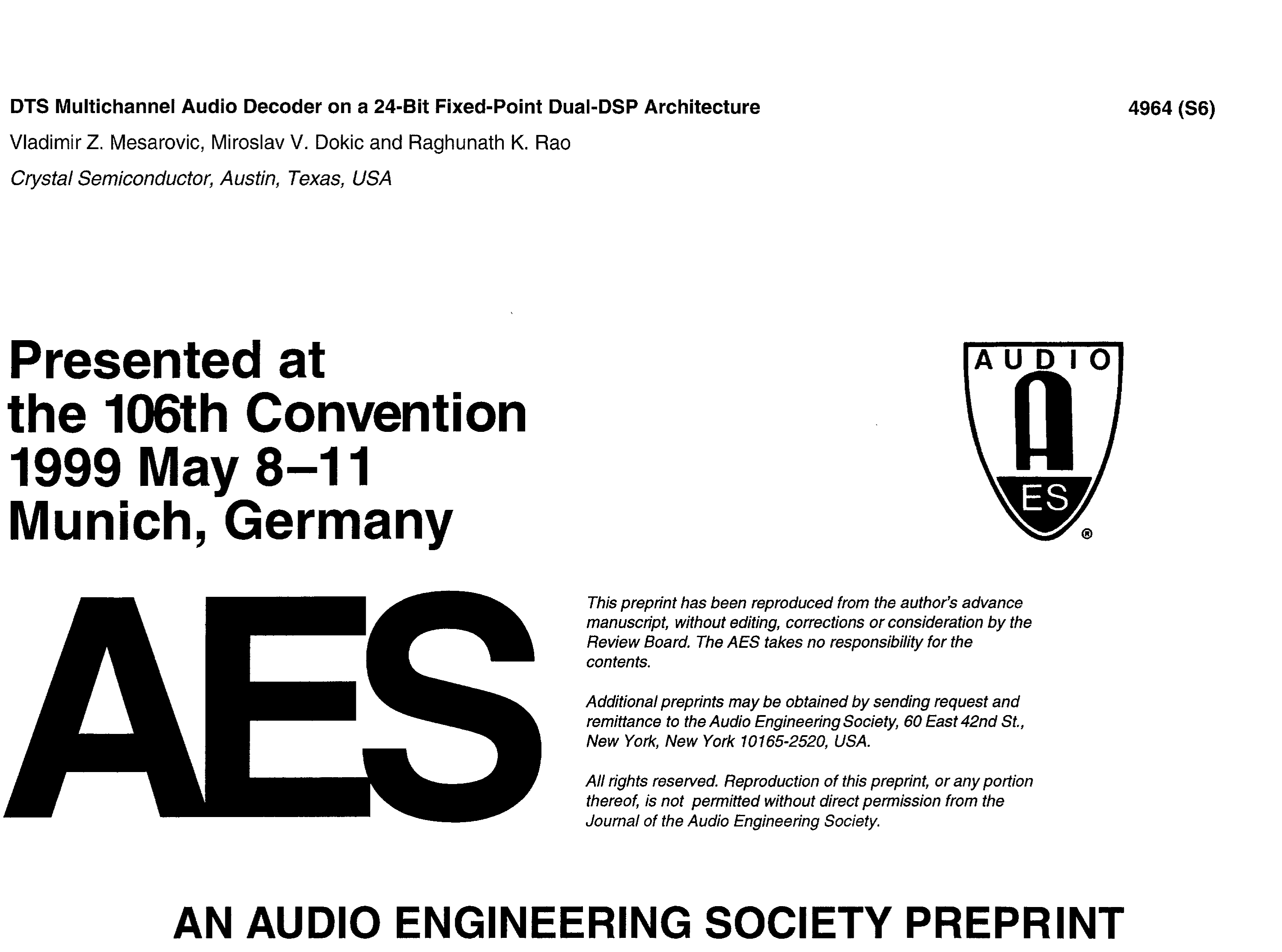 AES E-Library » DTS Multichannel Audio Decoder On a 24-Bit Fixed