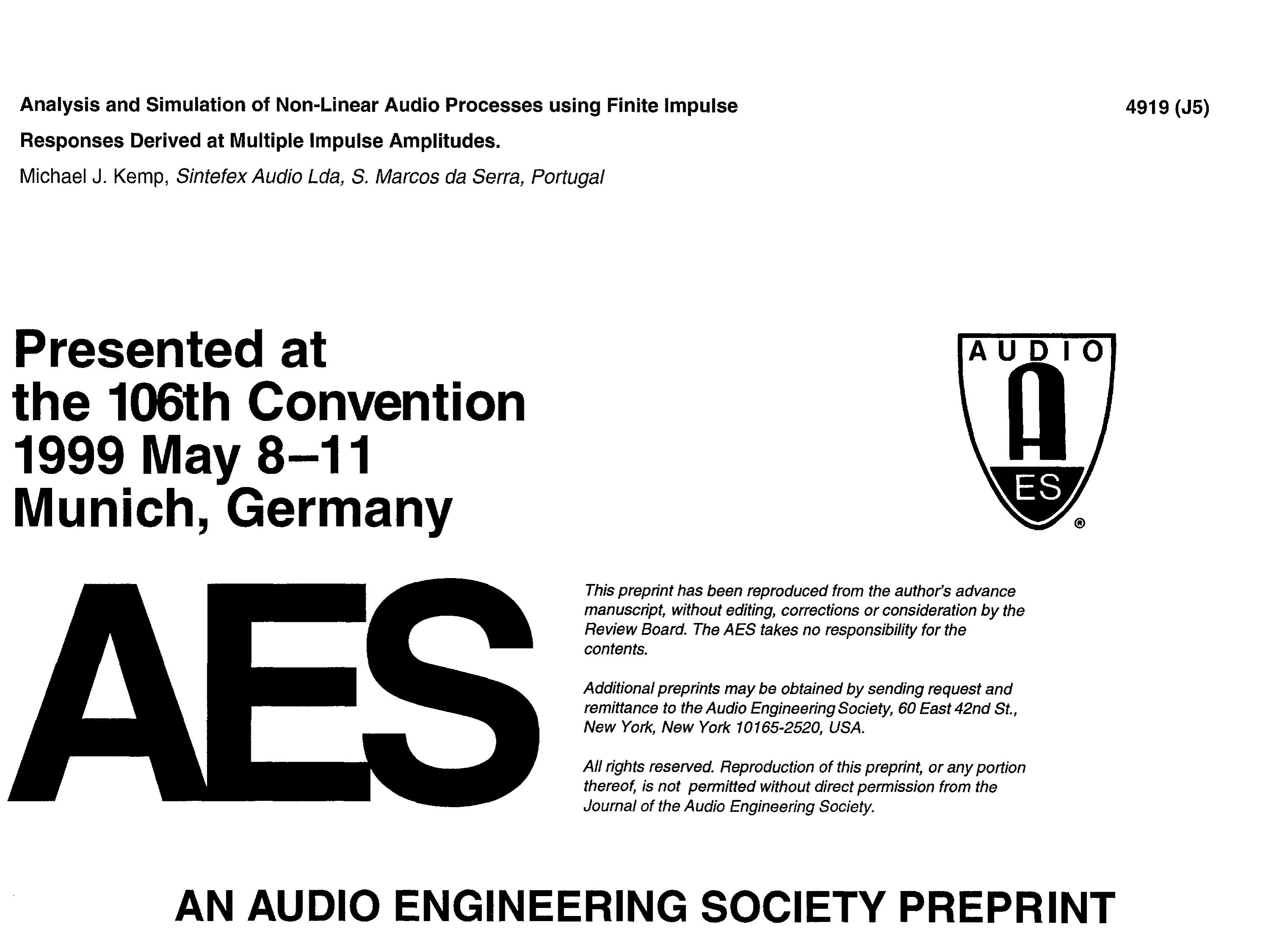 AES E-Library » Analysis and Simulation of Non-Linear Audio