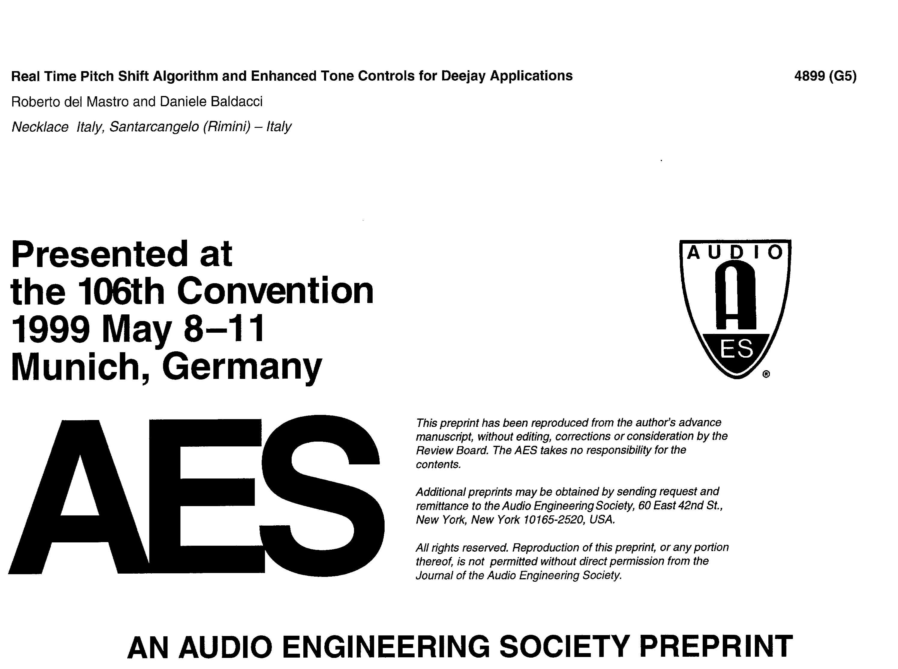 Aes E Library Real Time Pitch Shift Algorithm And Enhanced Tone Controls For Deejay Applications